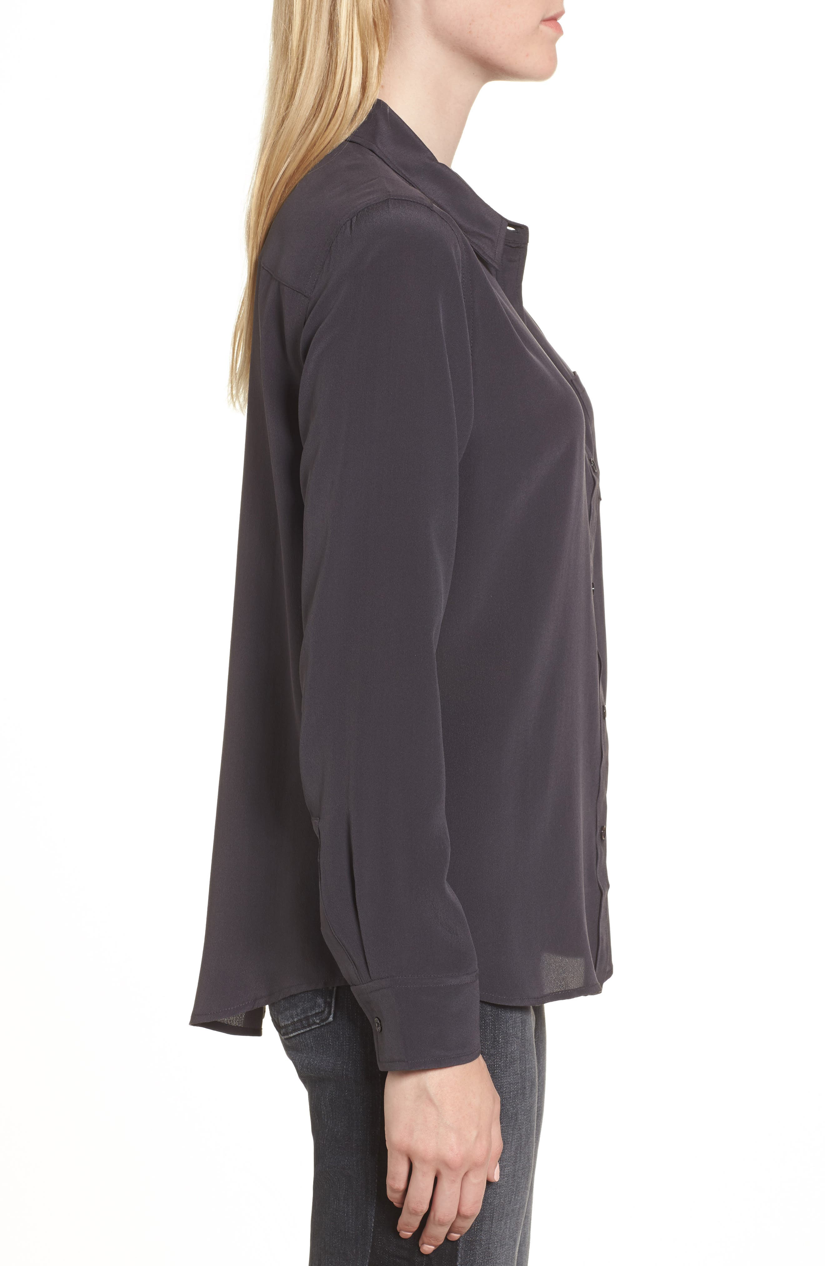 Kate Silk Shirt,                             Alternate thumbnail 3, color,                             CHARCOAL