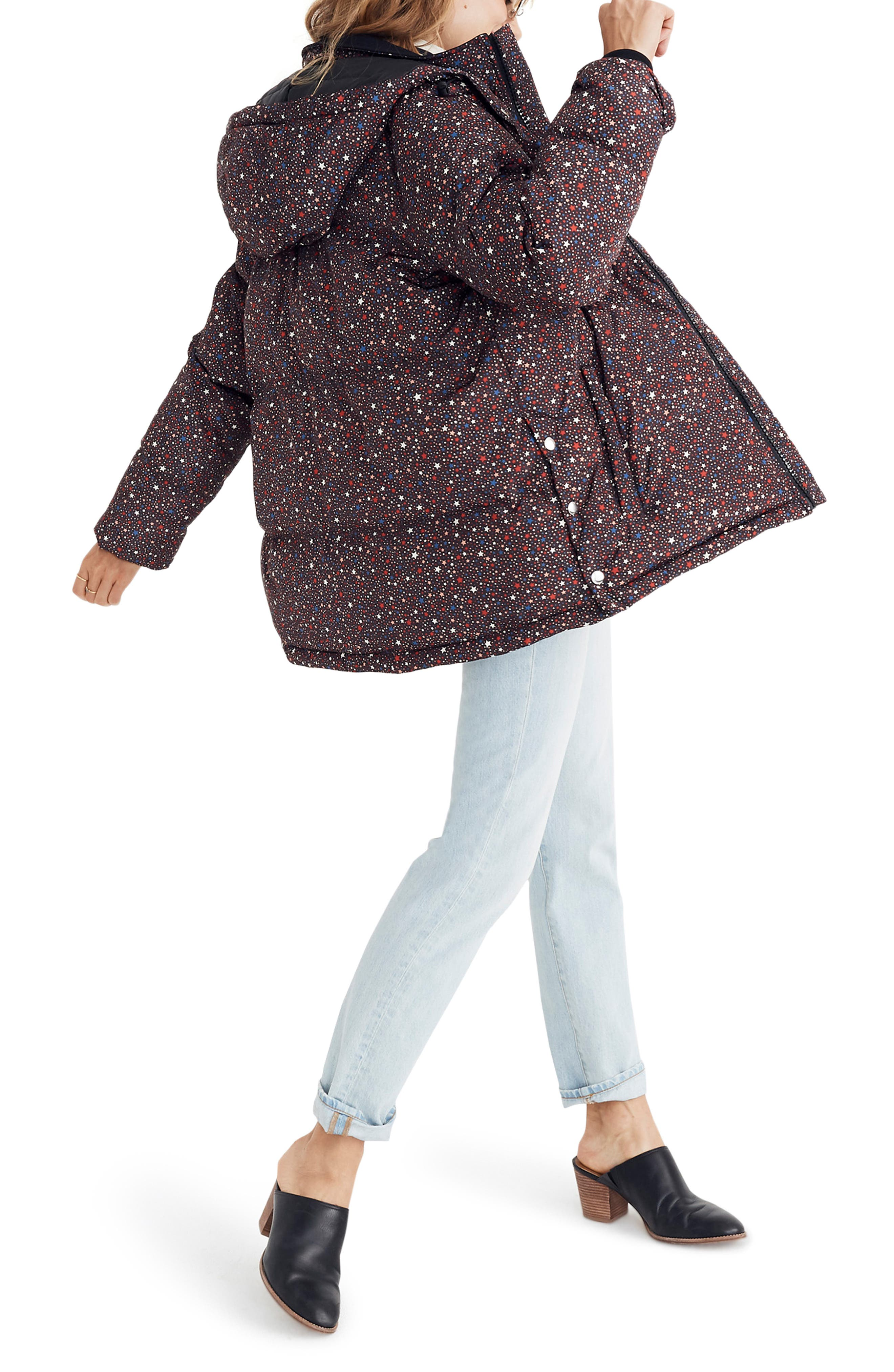 Starry Night Quilted Puffer Parka,                             Alternate thumbnail 3, color,                             DARK MEDITERRANEAN
