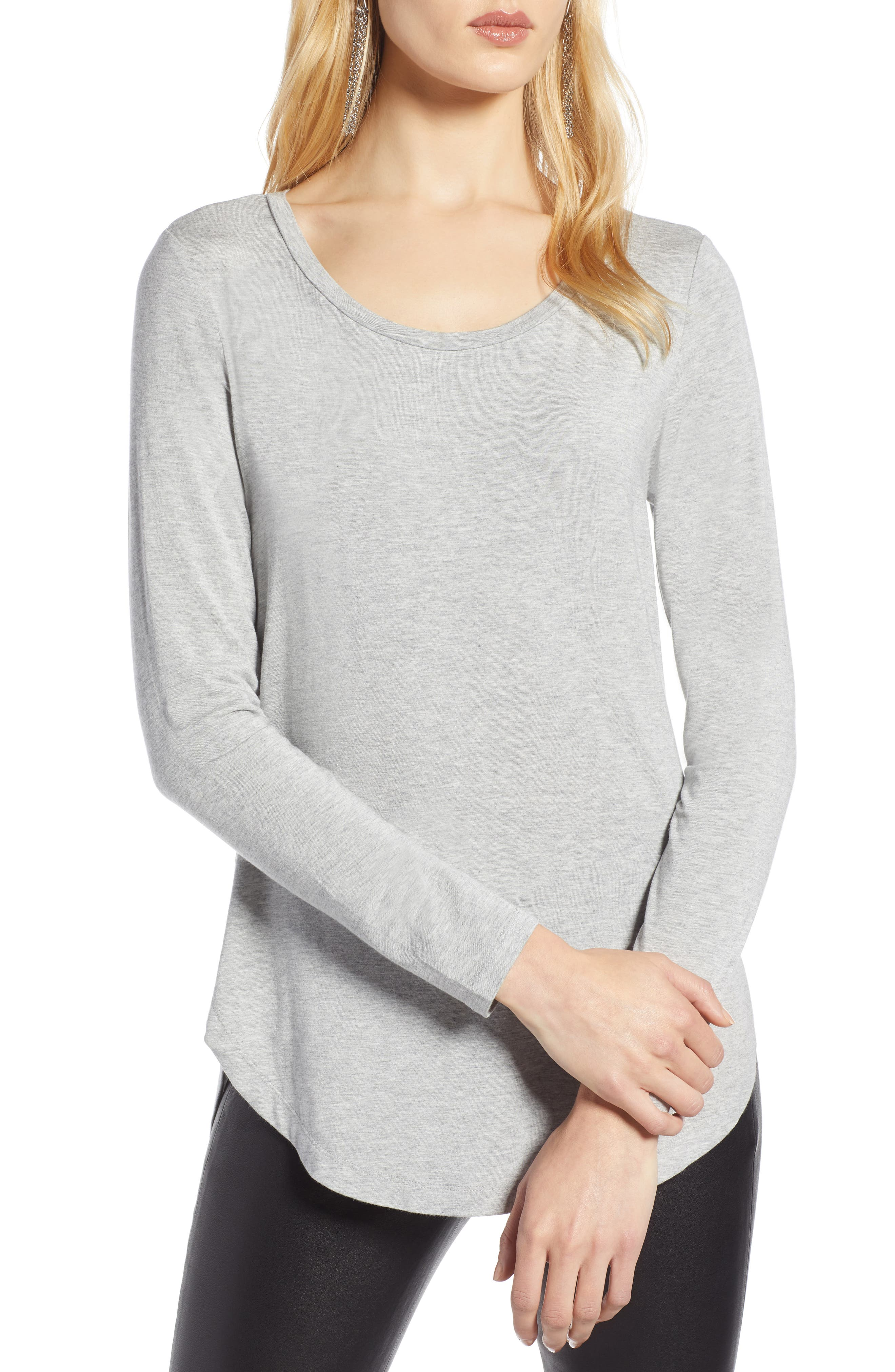 Long Sleeve Knit Tunic,                         Main,                         color, GREY HEATHER