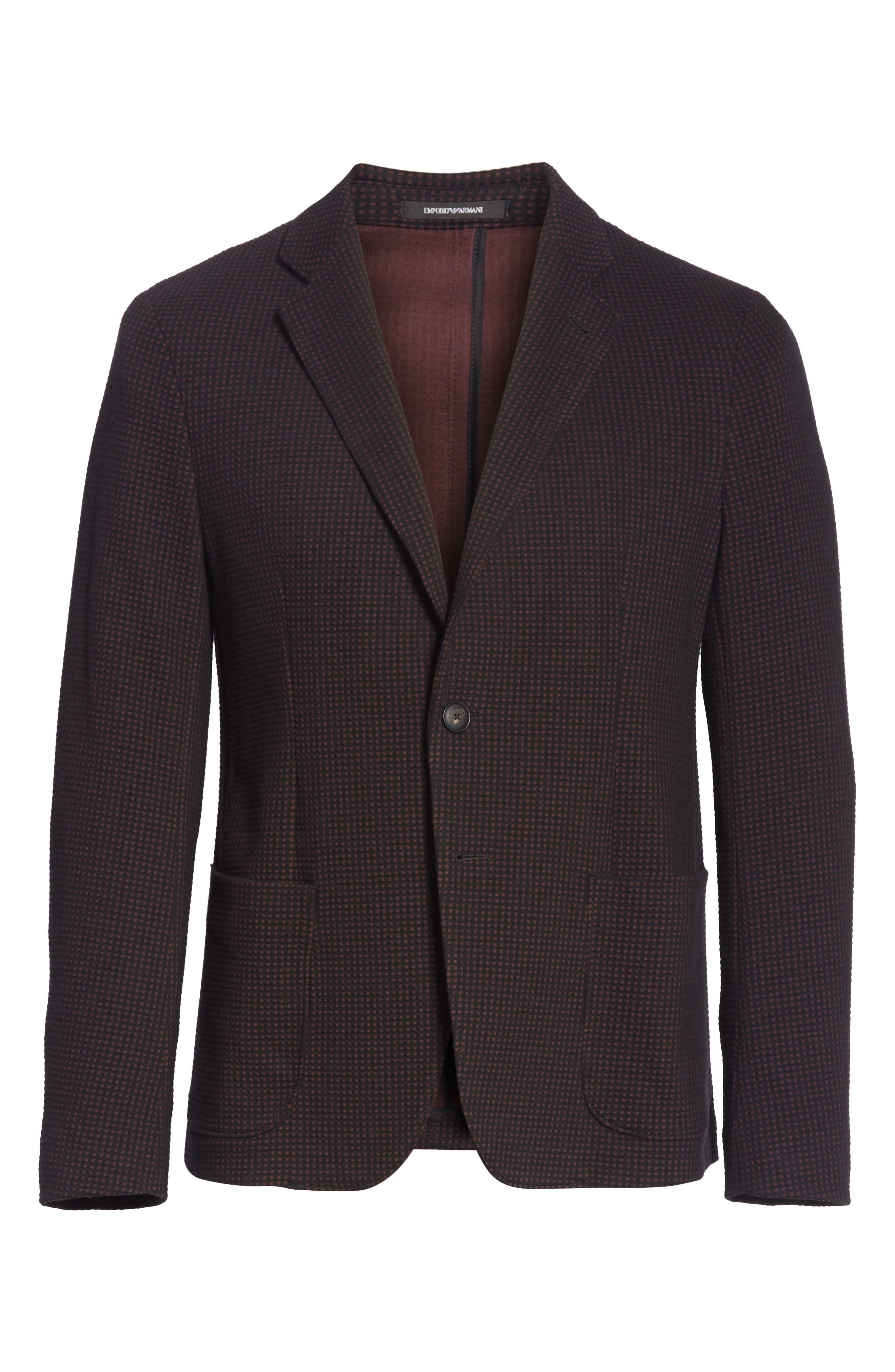 Trim Fit Check Cotton Sport Coat,                             Alternate thumbnail 5, color,                             BURGUNDY