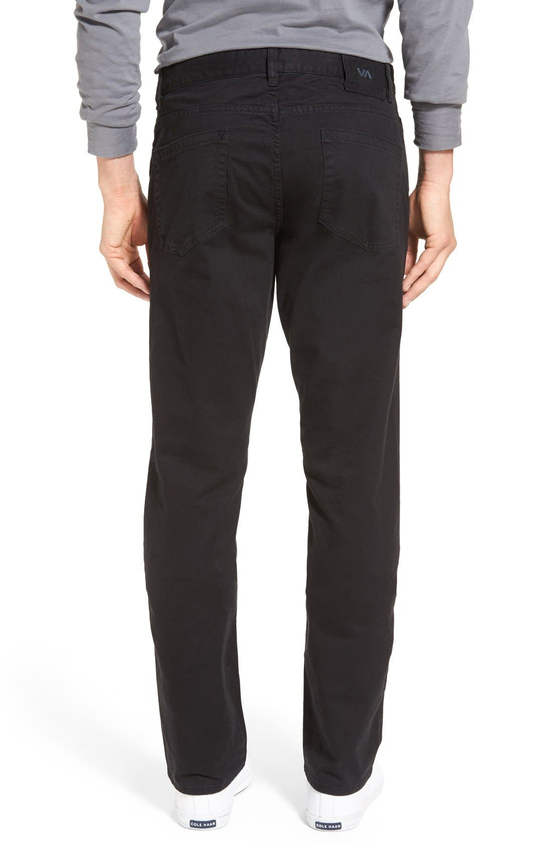 'Stay RVCA' Slim Straight Pants,                             Alternate thumbnail 5, color,                             001