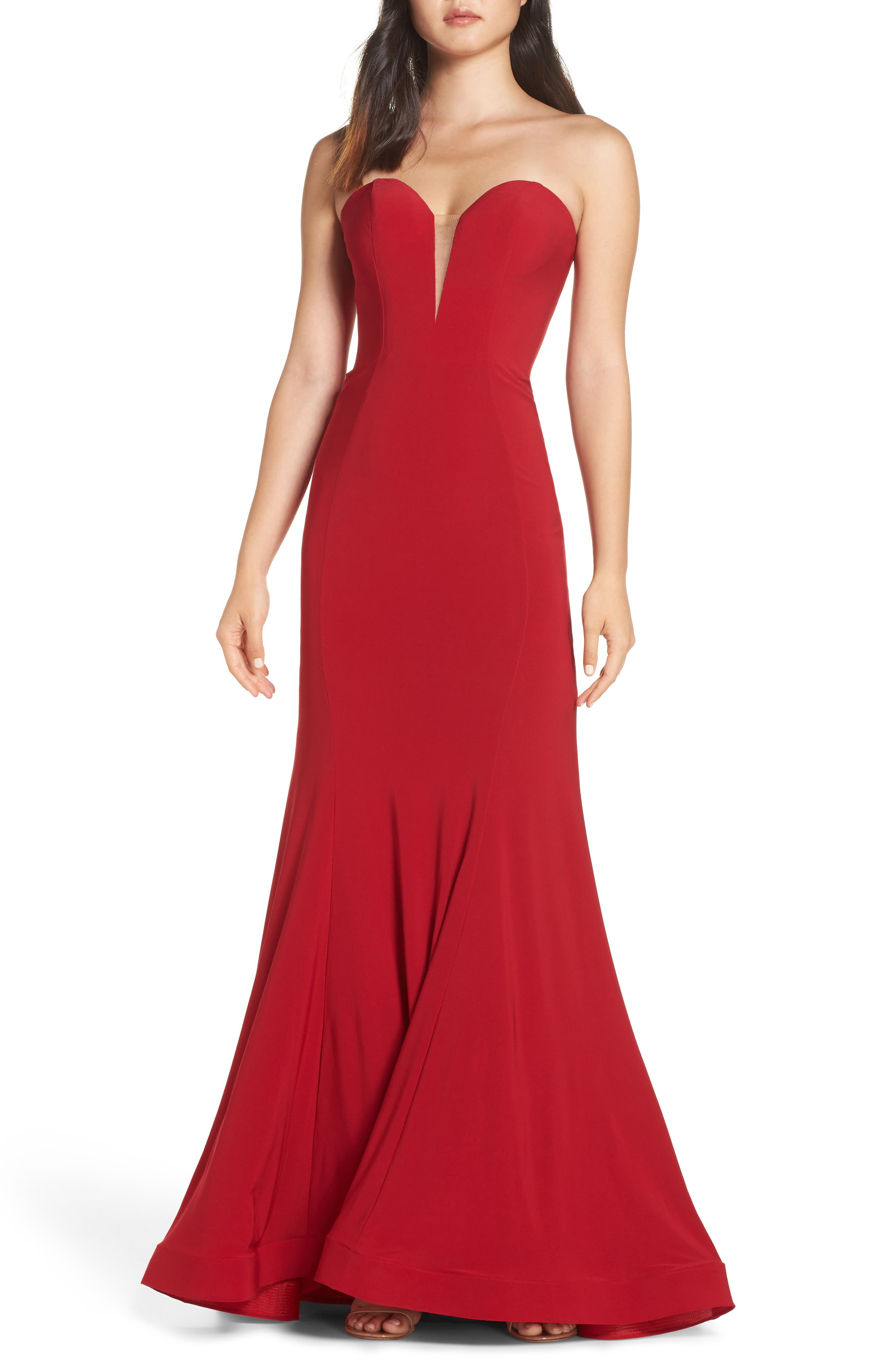 MAC Duggal Bustier Trumpet Gown, Red