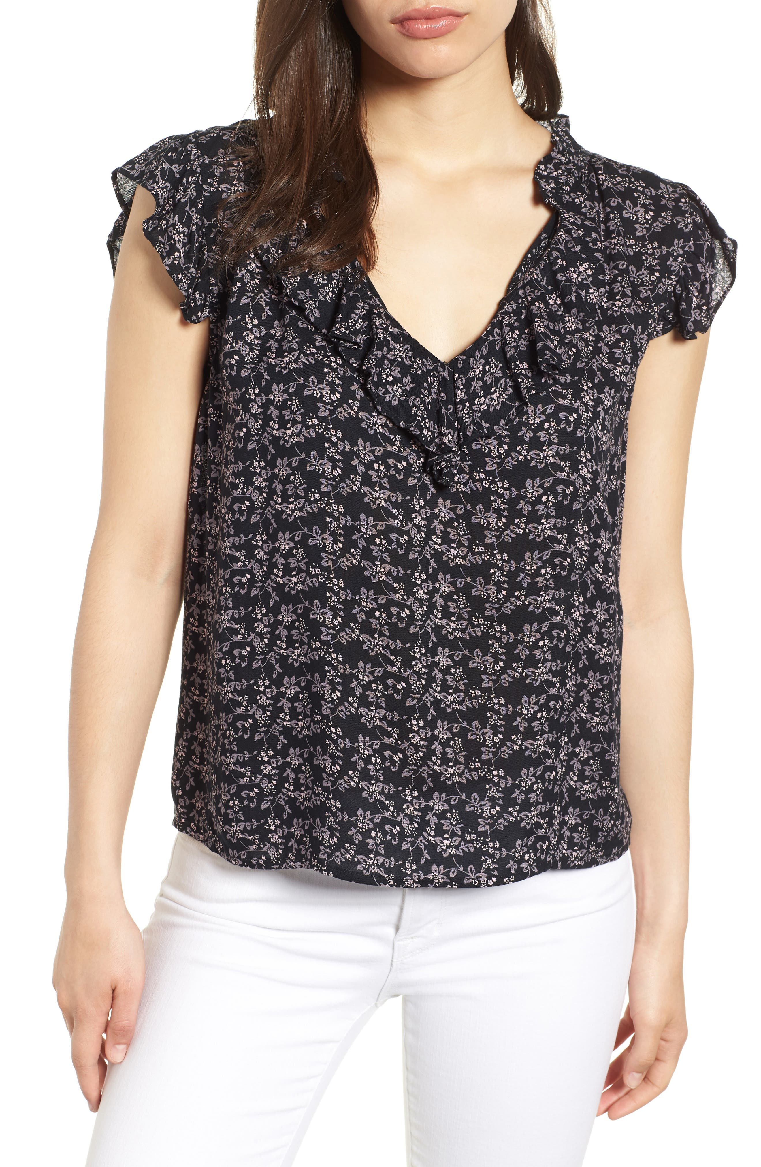 Printed Gauze Blouse,                         Main,                         color, 009