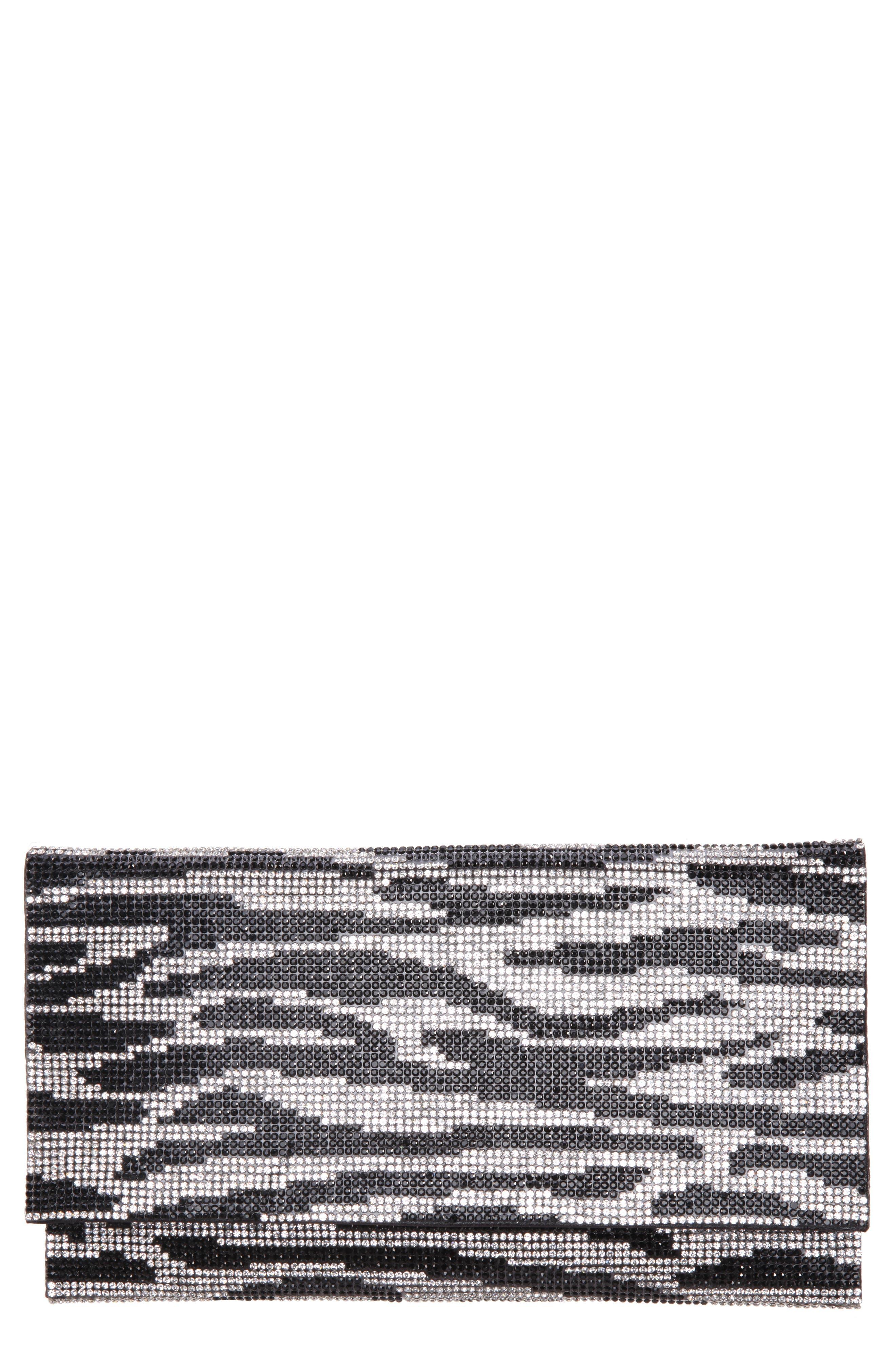 Crystal Zebra Clutch,                             Main thumbnail 1, color,                             BLACK/ SILVER