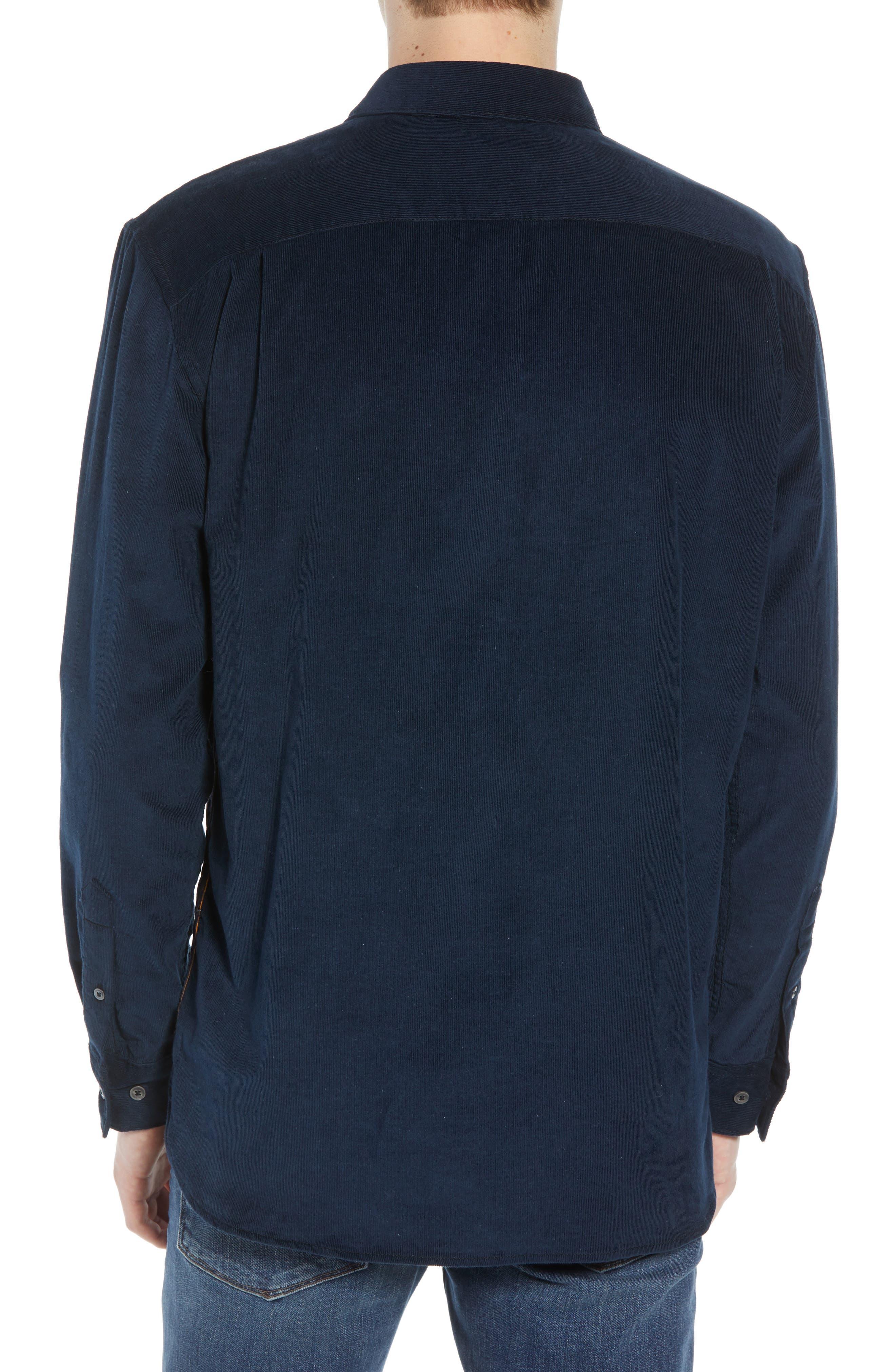 Regular Fit Check Print Corduroy Shirt,                             Alternate thumbnail 3, color,                             CALLUNA YELLOW UTILITY BLUE