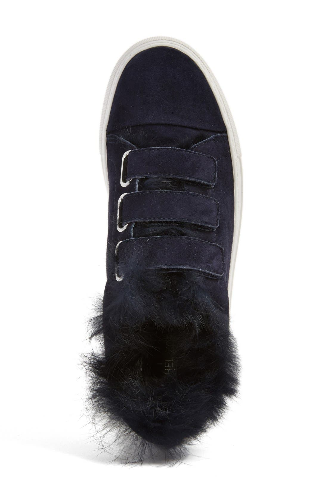 'Boe' Genuine Rabbit Fur & Shearling Lined Platform Sneaker,                             Alternate thumbnail 3, color,                             425