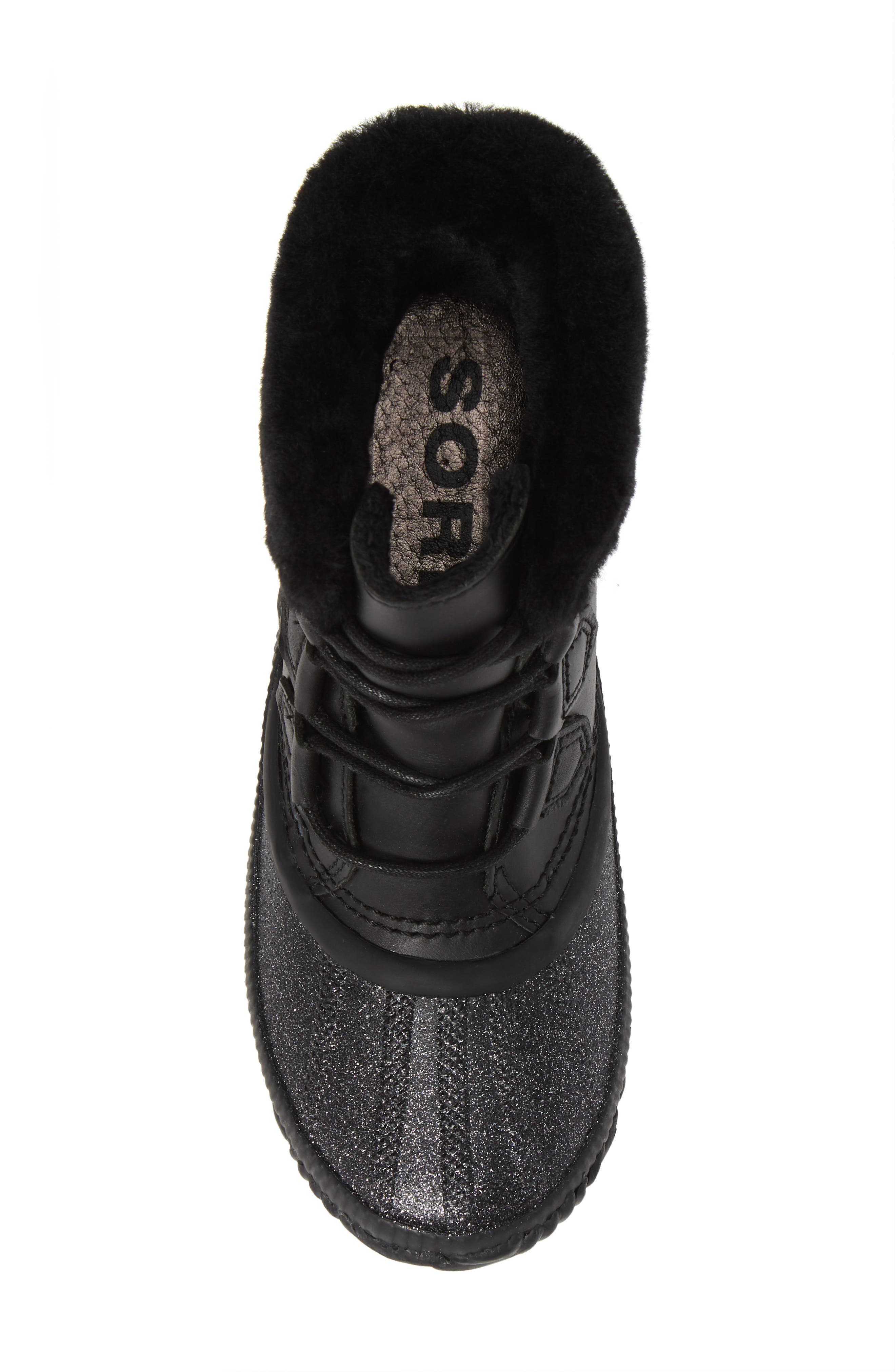 Out N About Plus Lux Waterproof Boot with Genuine Shearling Trim,                             Alternate thumbnail 5, color,                             BLACK