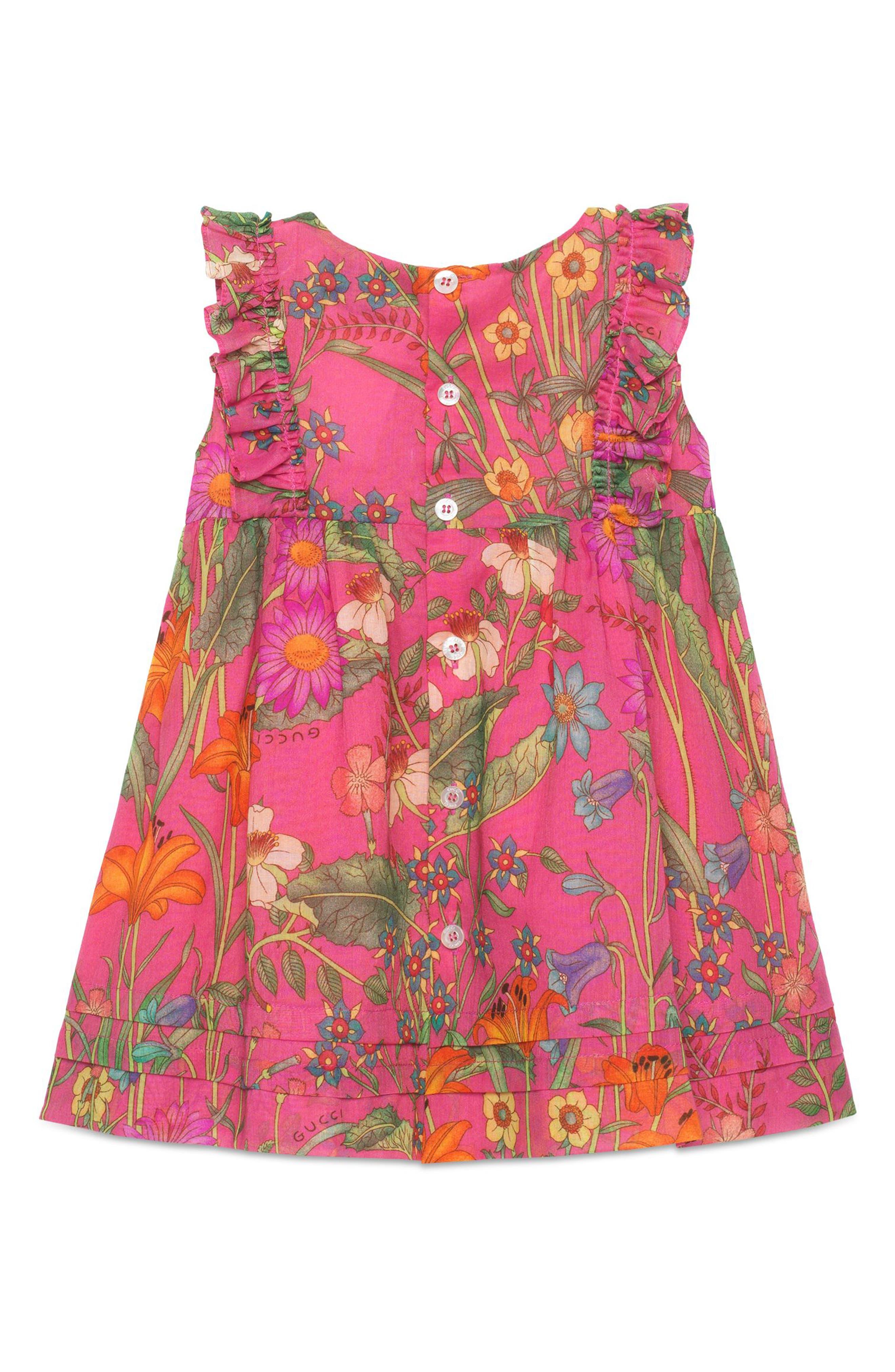 Floral Print Sleeveless Dress,                             Alternate thumbnail 2, color,                             POWER ROSE