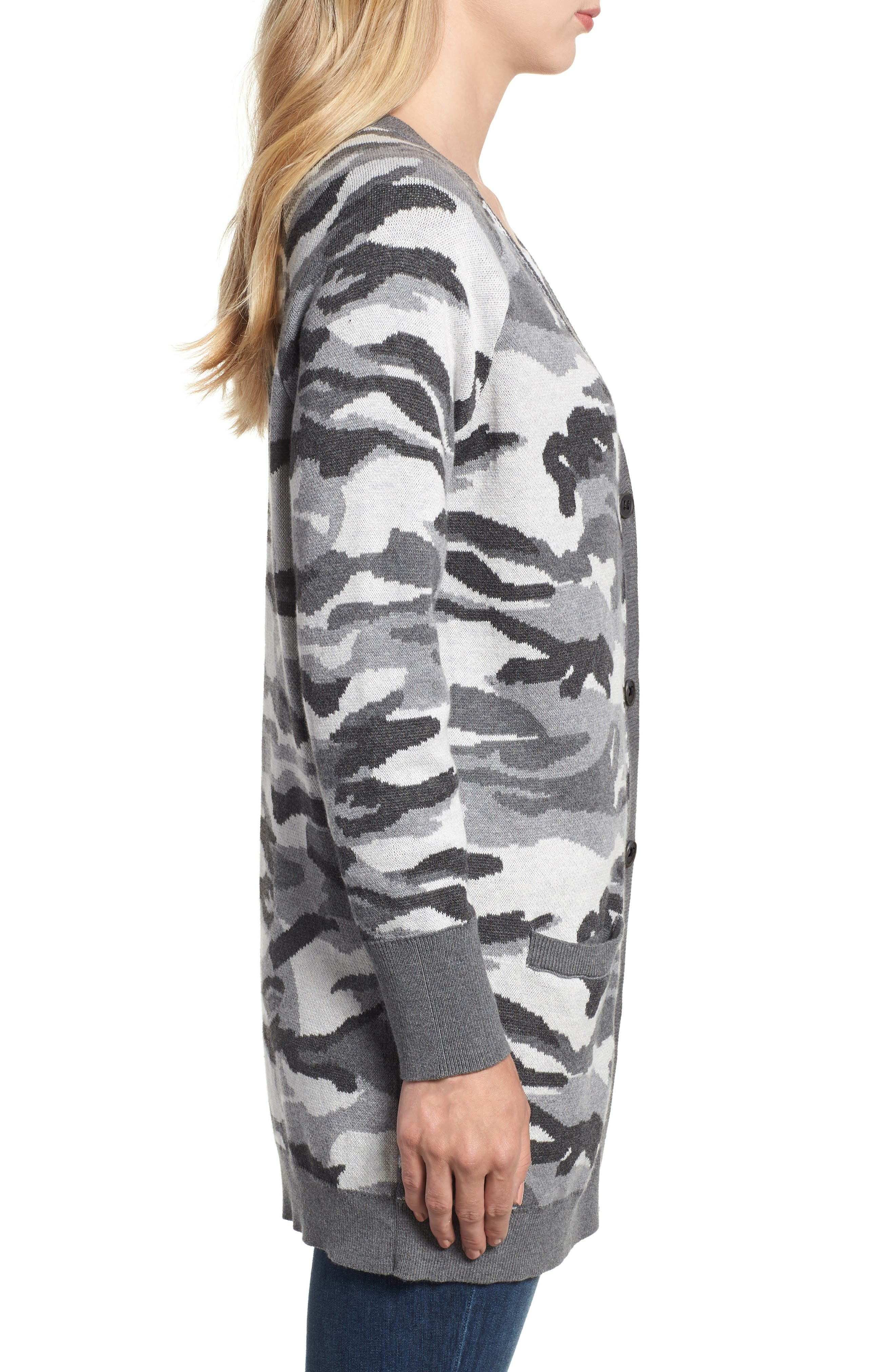 Button Front Camo Cardigan,                             Alternate thumbnail 3, color,                             026