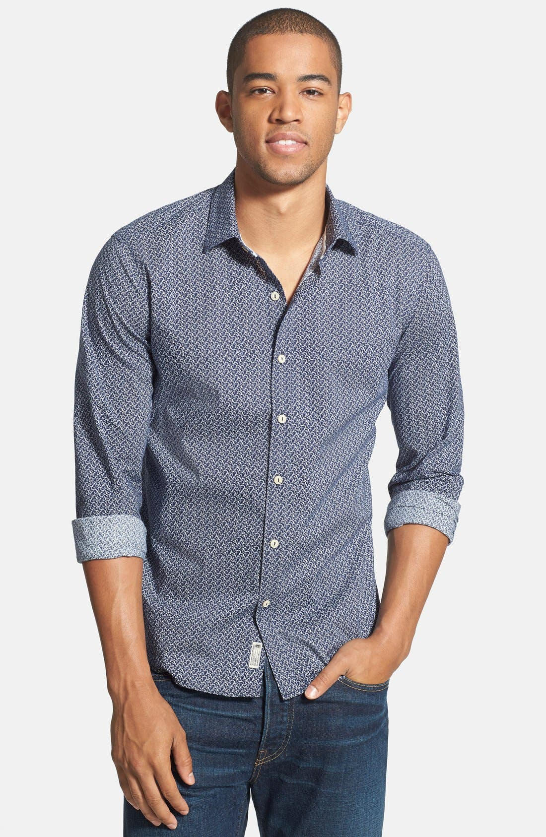 'Blueberry Hill' Trim Fit Print Woven Shirt,                         Main,                         color, 410