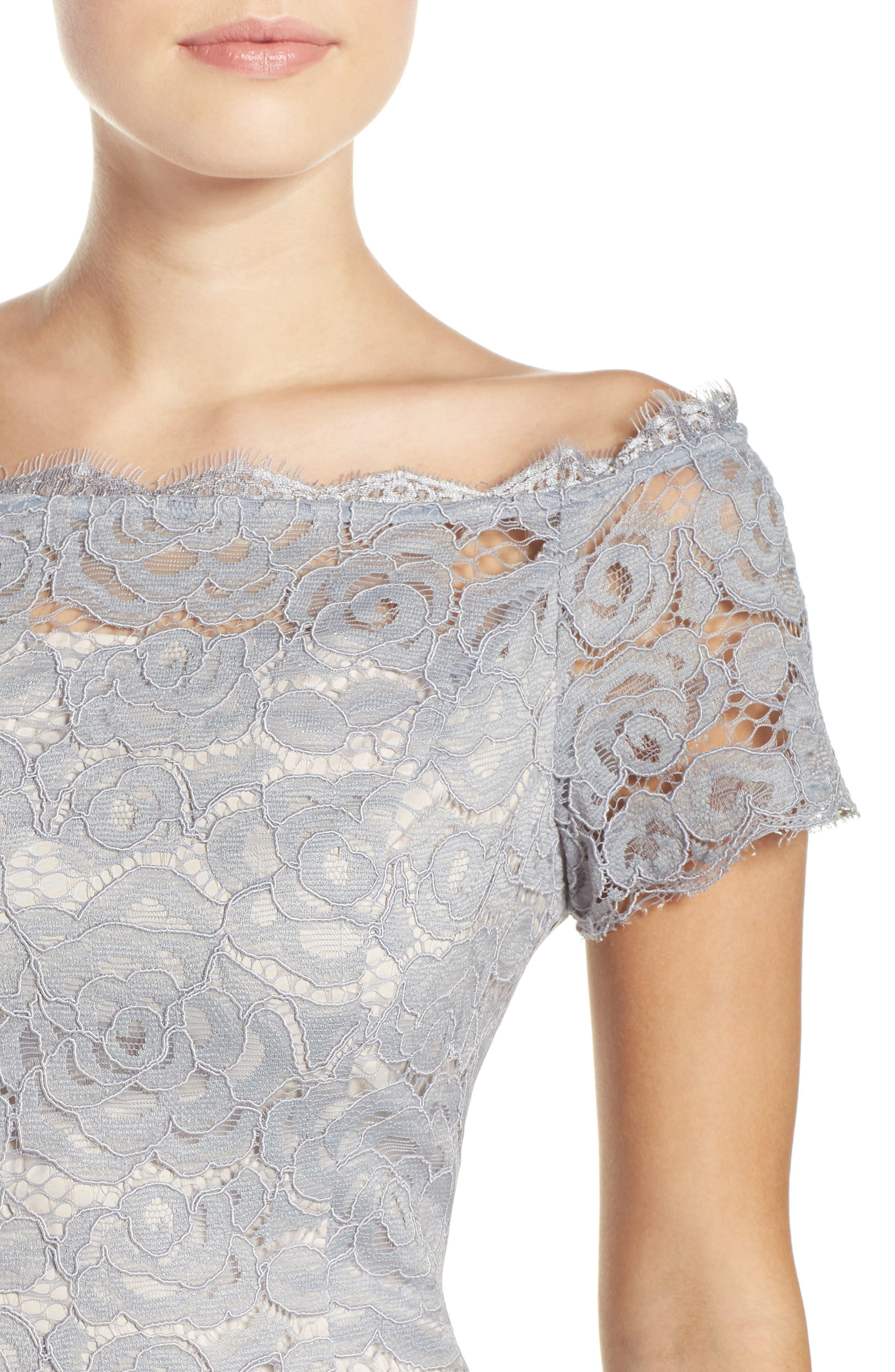 Off the Shoulder Lace Sheath Dress,                             Alternate thumbnail 27, color,