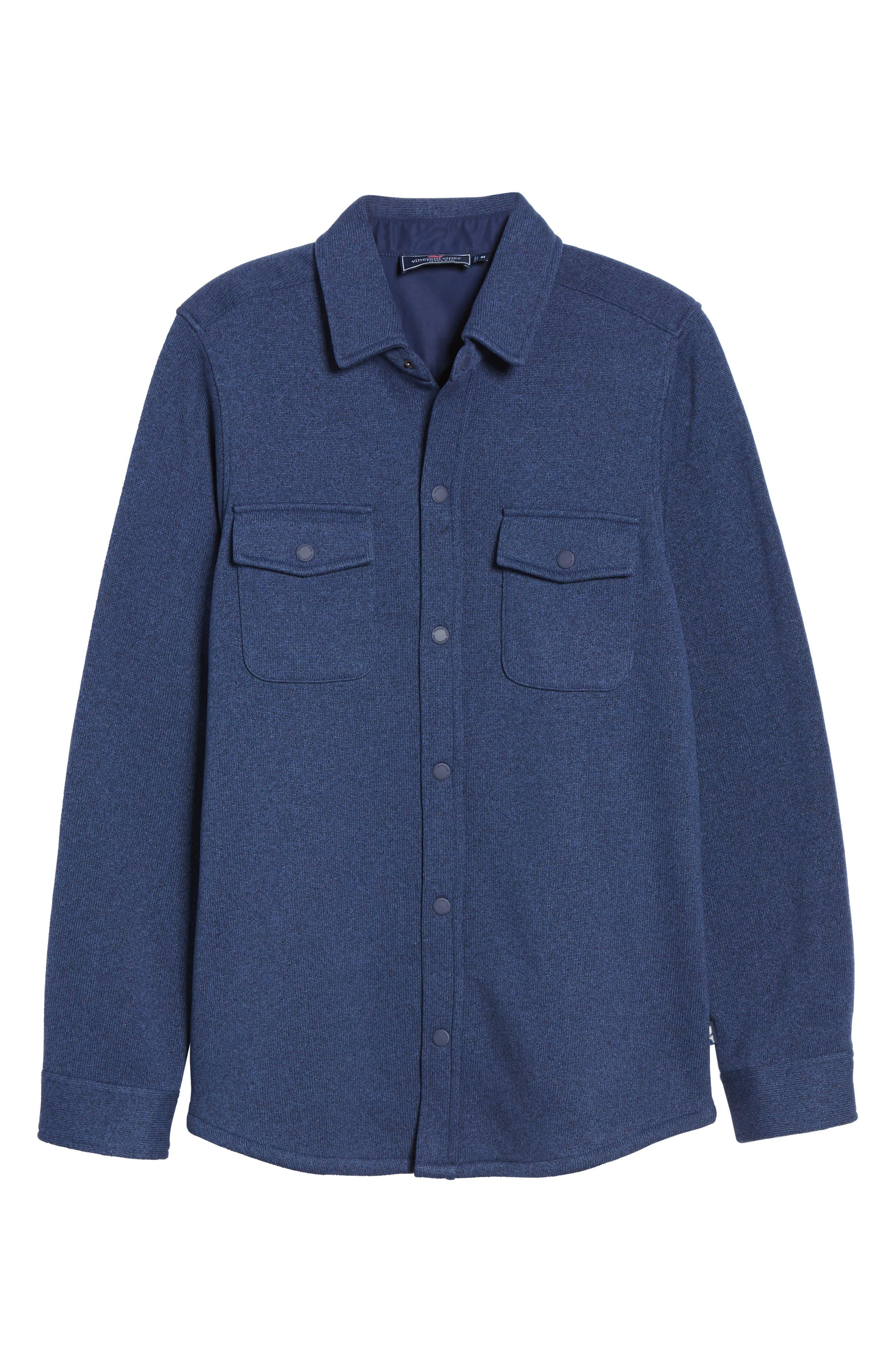 Knit Regular Fit Shirt Jacket,                             Alternate thumbnail 5, color,                             DEEP BAY