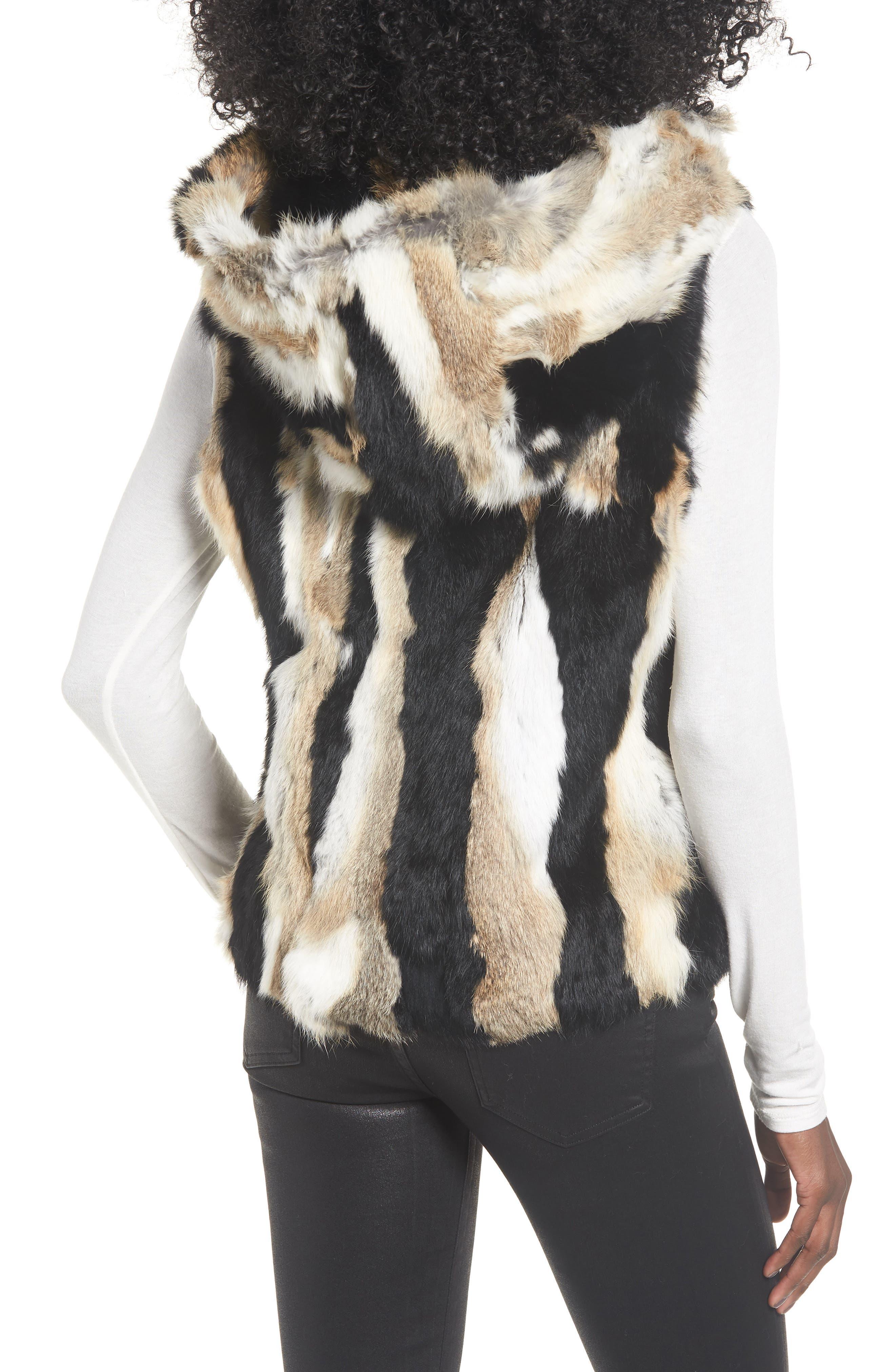 Genuine Rabbit Fur Hooded Vest,                             Alternate thumbnail 2, color,                             BROWN COMBO