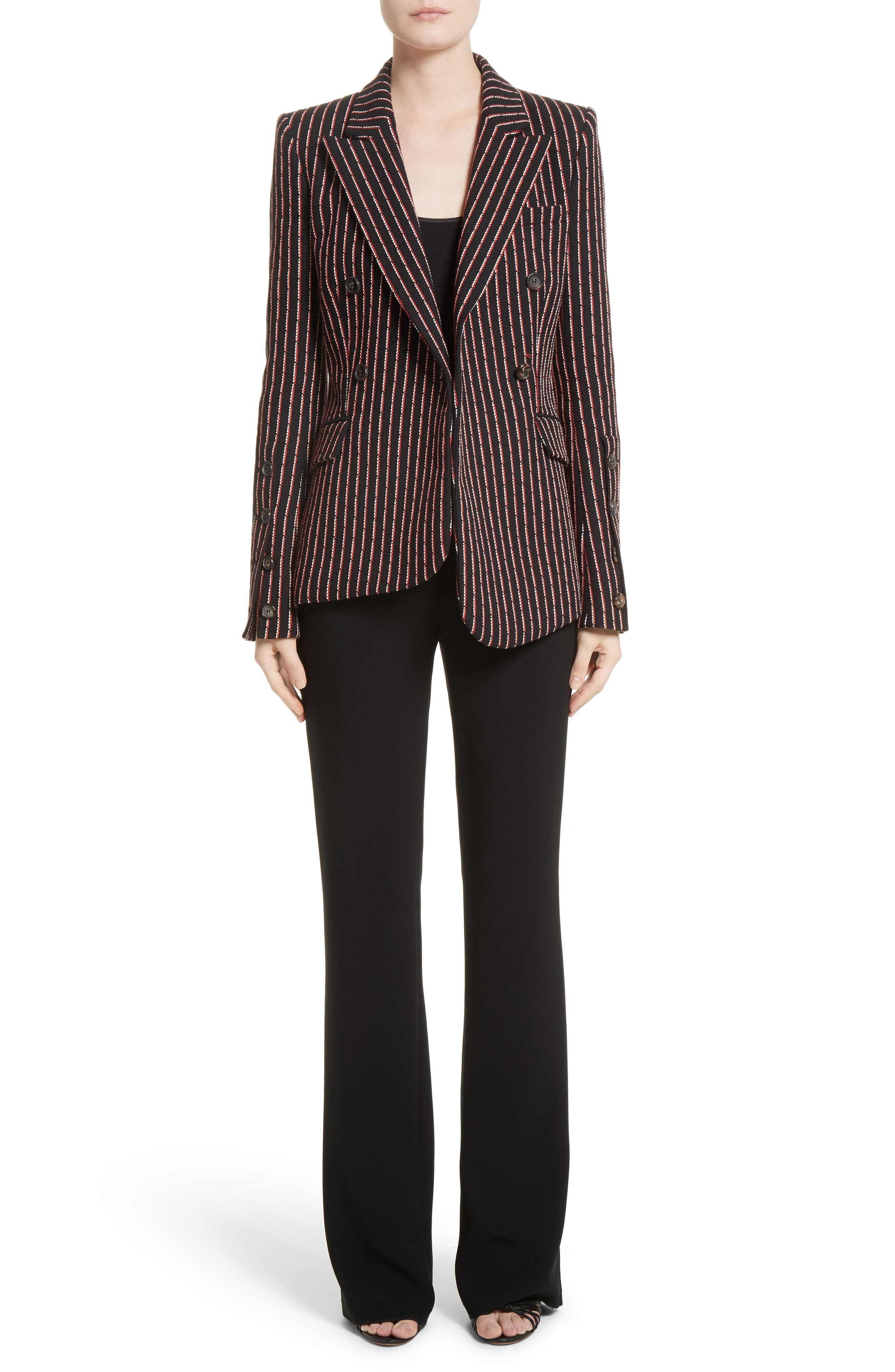 Pinstripe Double Breasted Blazer,                             Alternate thumbnail 7, color,                             001