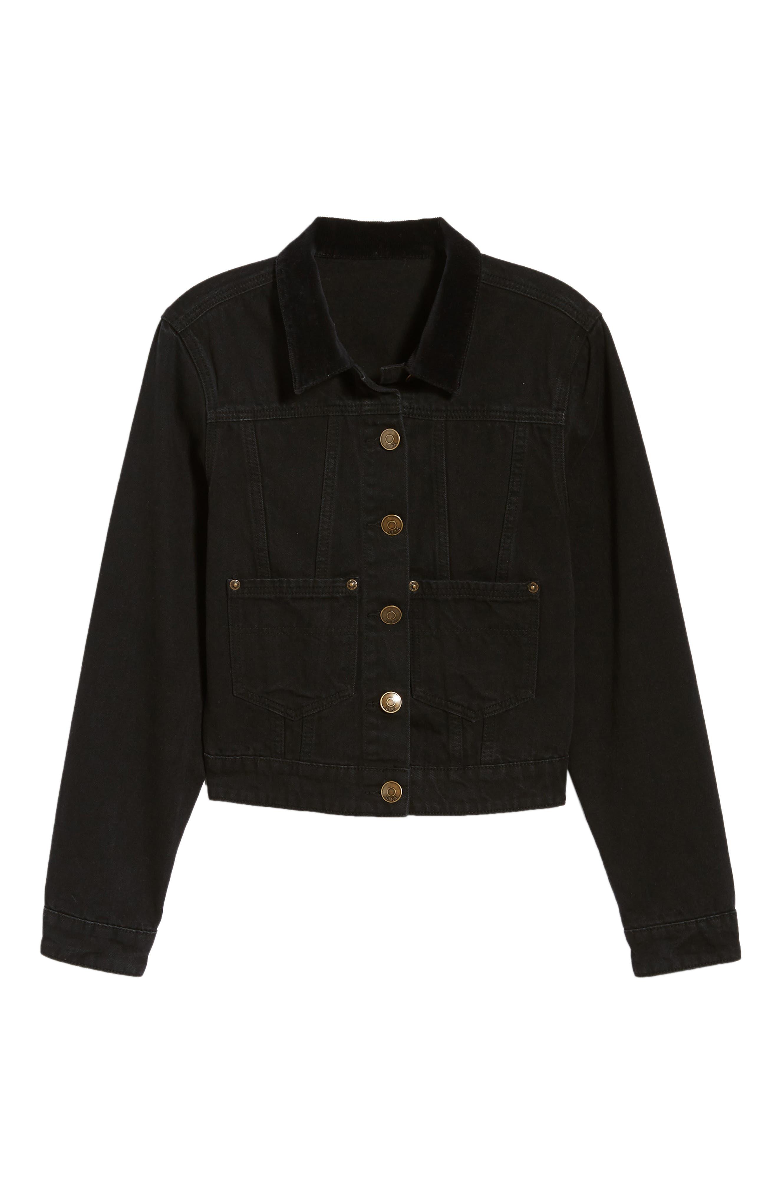 Polara Denim Jacket,                             Alternate thumbnail 6, color,                             WASHED BLACK