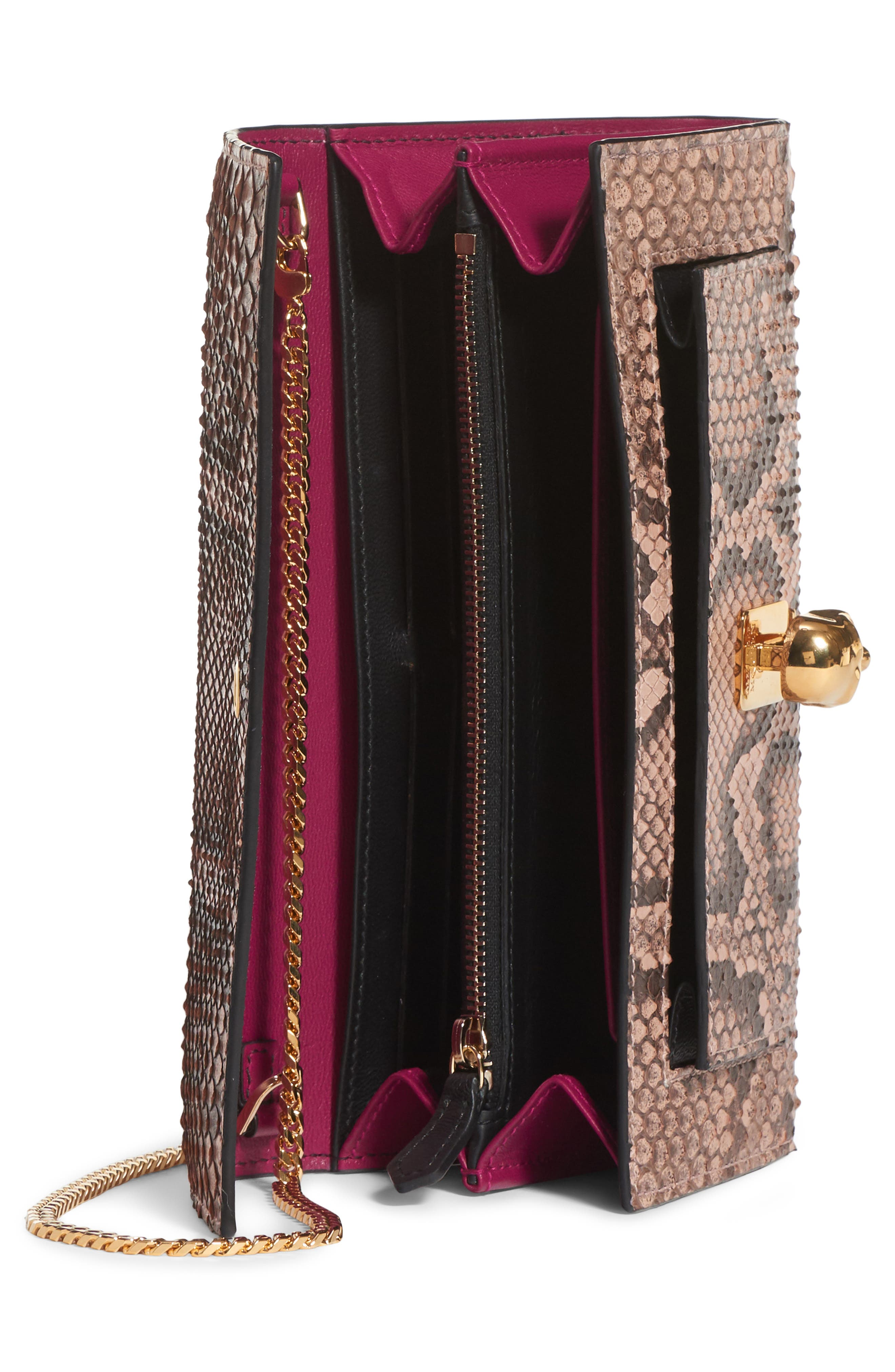 Genuine Python Wallet on a Chain,                             Alternate thumbnail 3, color,                             NUDE/ BROWN