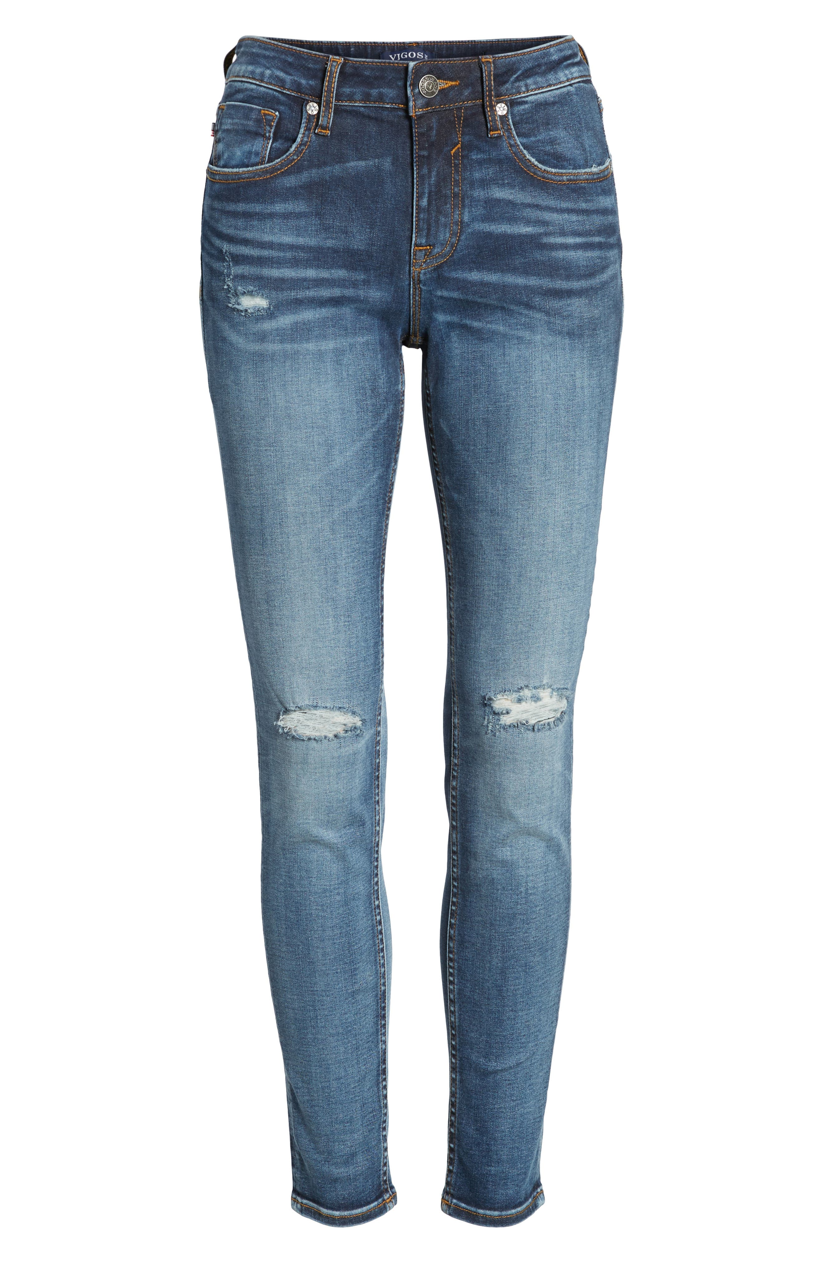 Jagger Ripped Skinny Jeans,                             Alternate thumbnail 7, color,