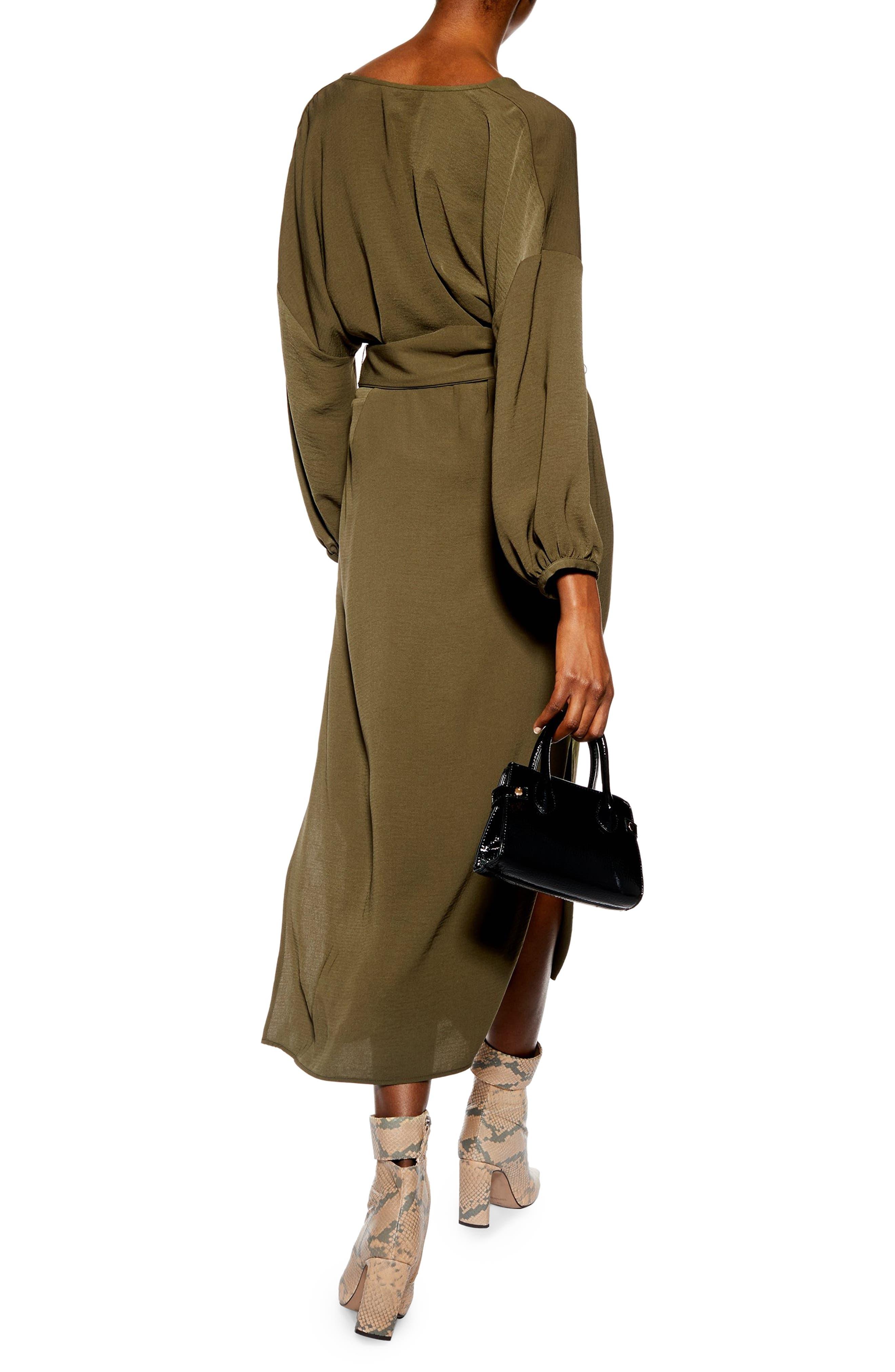 Belted Midi Dress,                             Alternate thumbnail 2, color,                             OLIVE