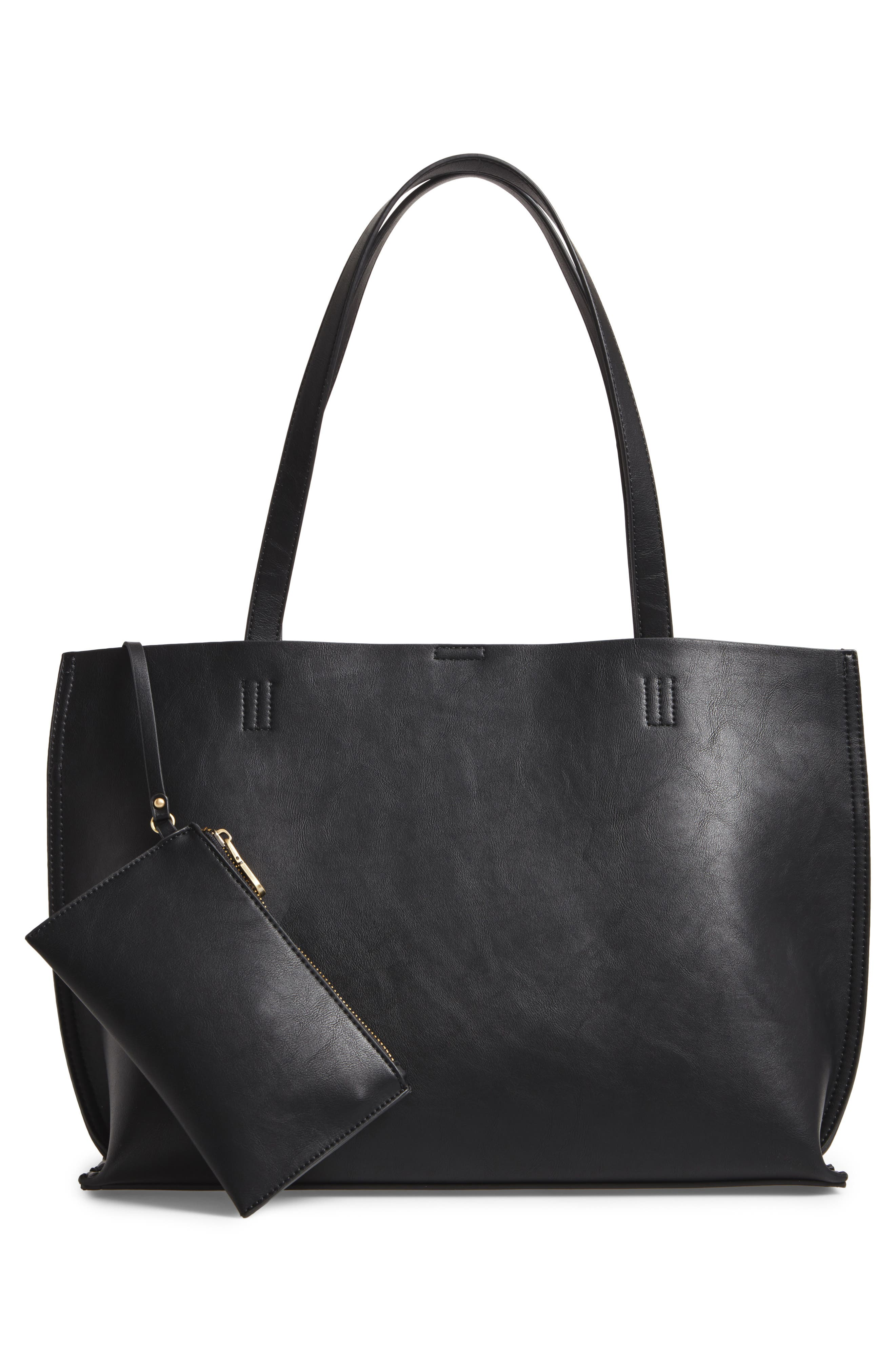 Woven Faux Leather Tote,                             Alternate thumbnail 3, color,                             001