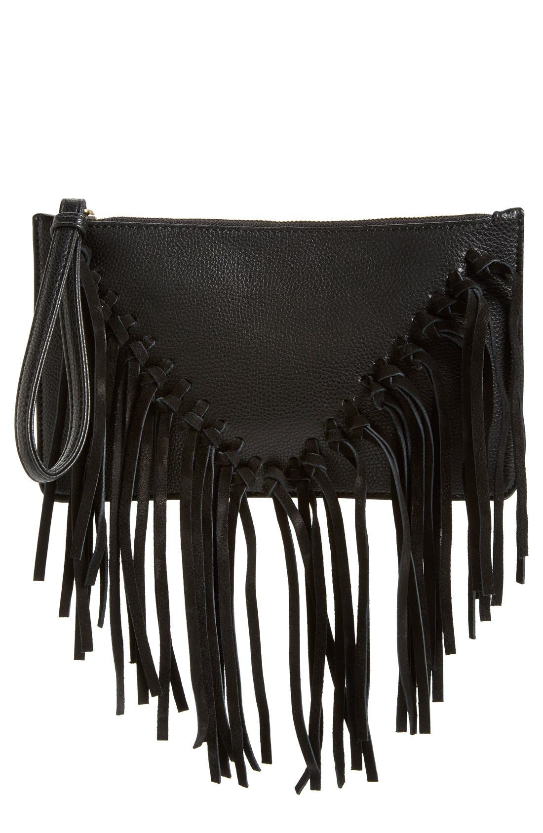Suede Fringe Clutch,                         Main,                         color, 001