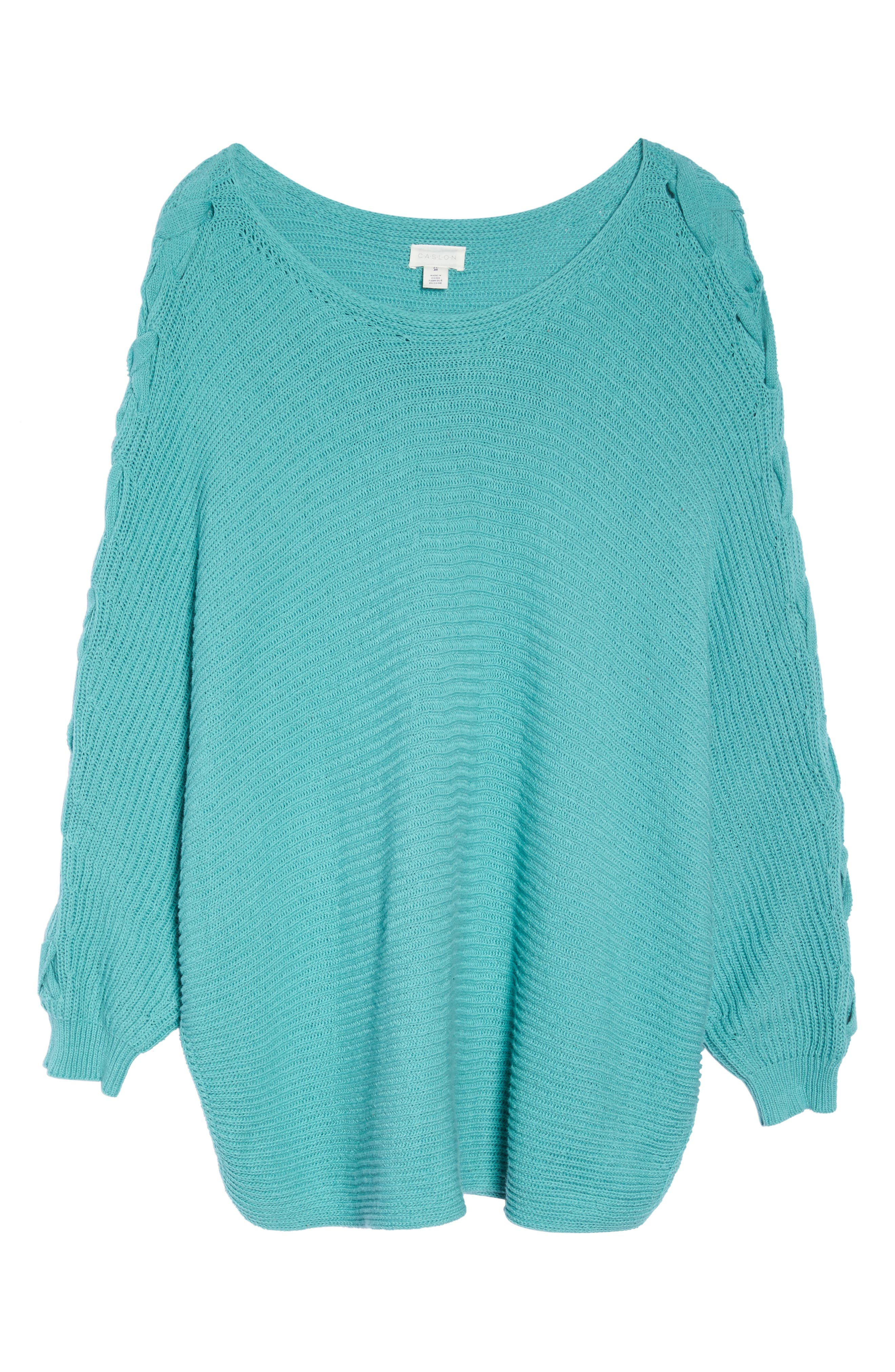 Lace-Up Sleeve Sweater,                             Alternate thumbnail 6, color,                             310