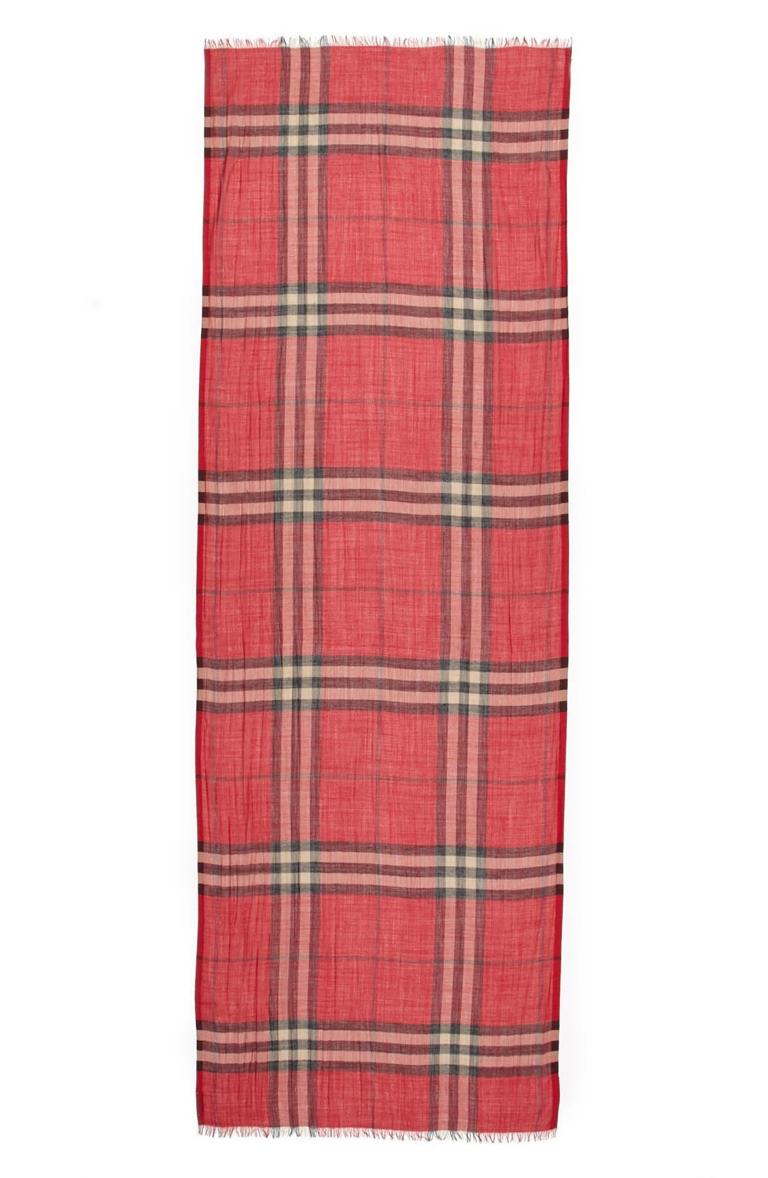 Giant Check Print Wool & Silk Scarf,                             Alternate thumbnail 110, color,