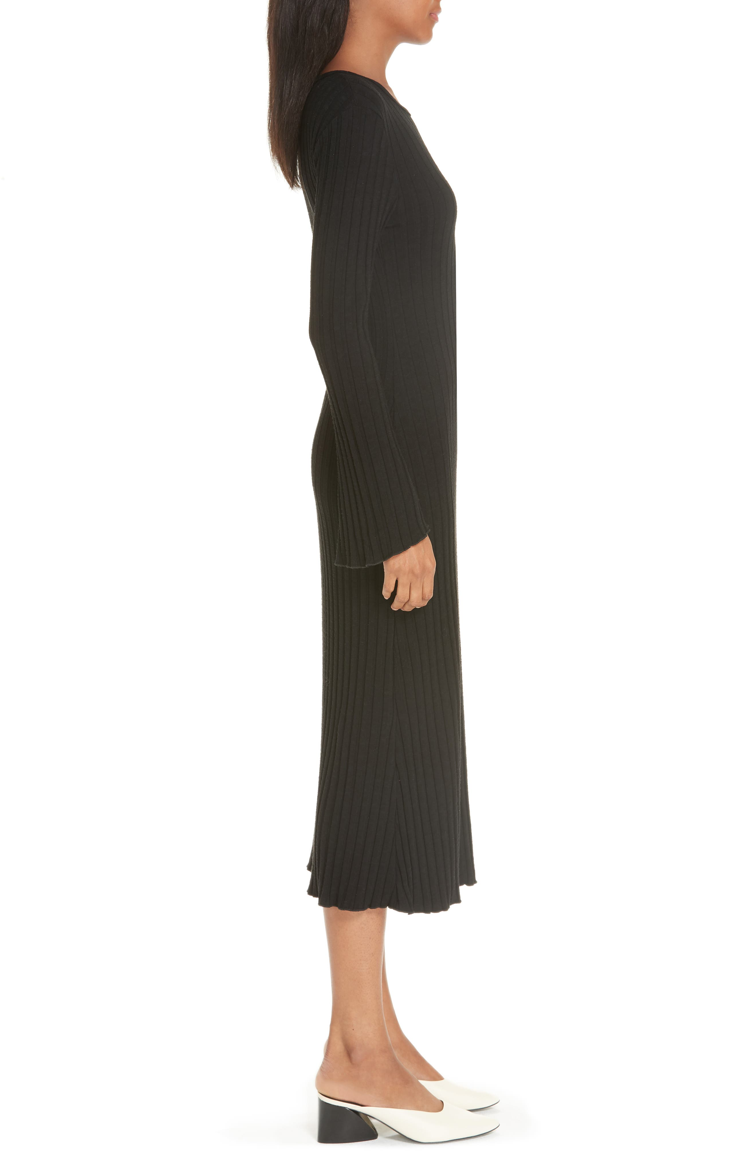 Rib Dress,                             Alternate thumbnail 3, color,                             BLACK