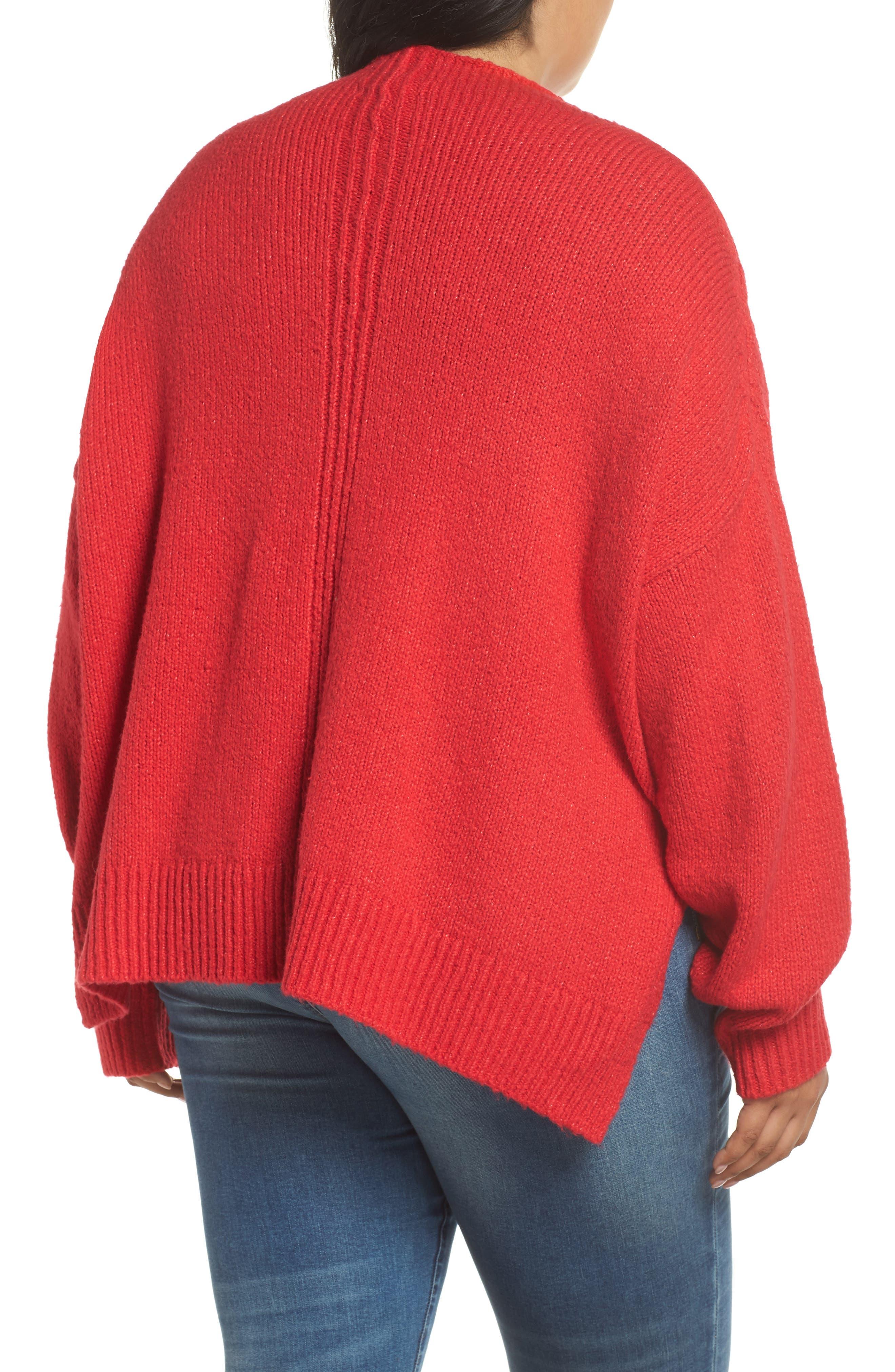 Side Slit Sweater,                             Alternate thumbnail 2, color,                             RED LIPSTICK