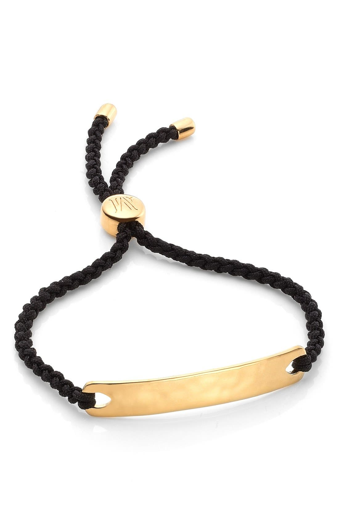 Engravable HavanaFriendship Bracelet,                             Main thumbnail 1, color,                             YELLOW GOLD/ BLACK