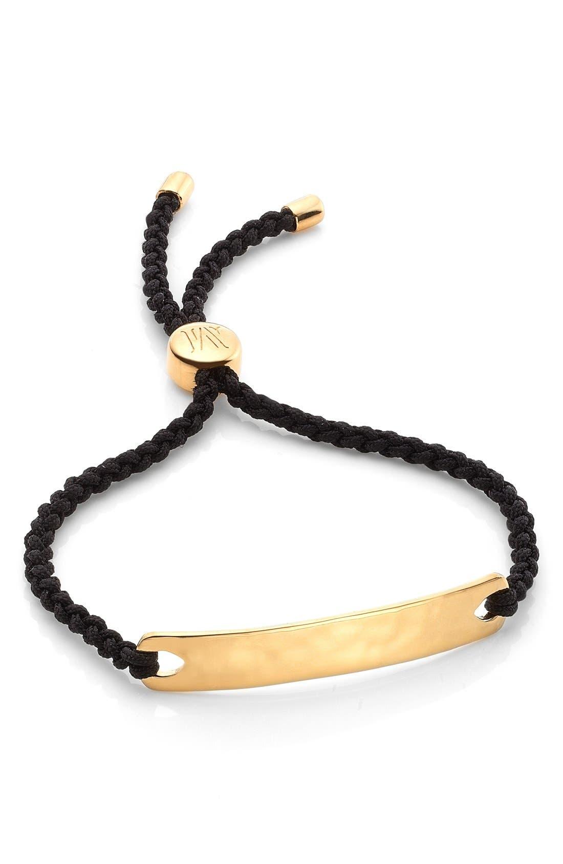 Engravable HavanaFriendship Bracelet,                         Main,                         color, YELLOW GOLD/ BLACK