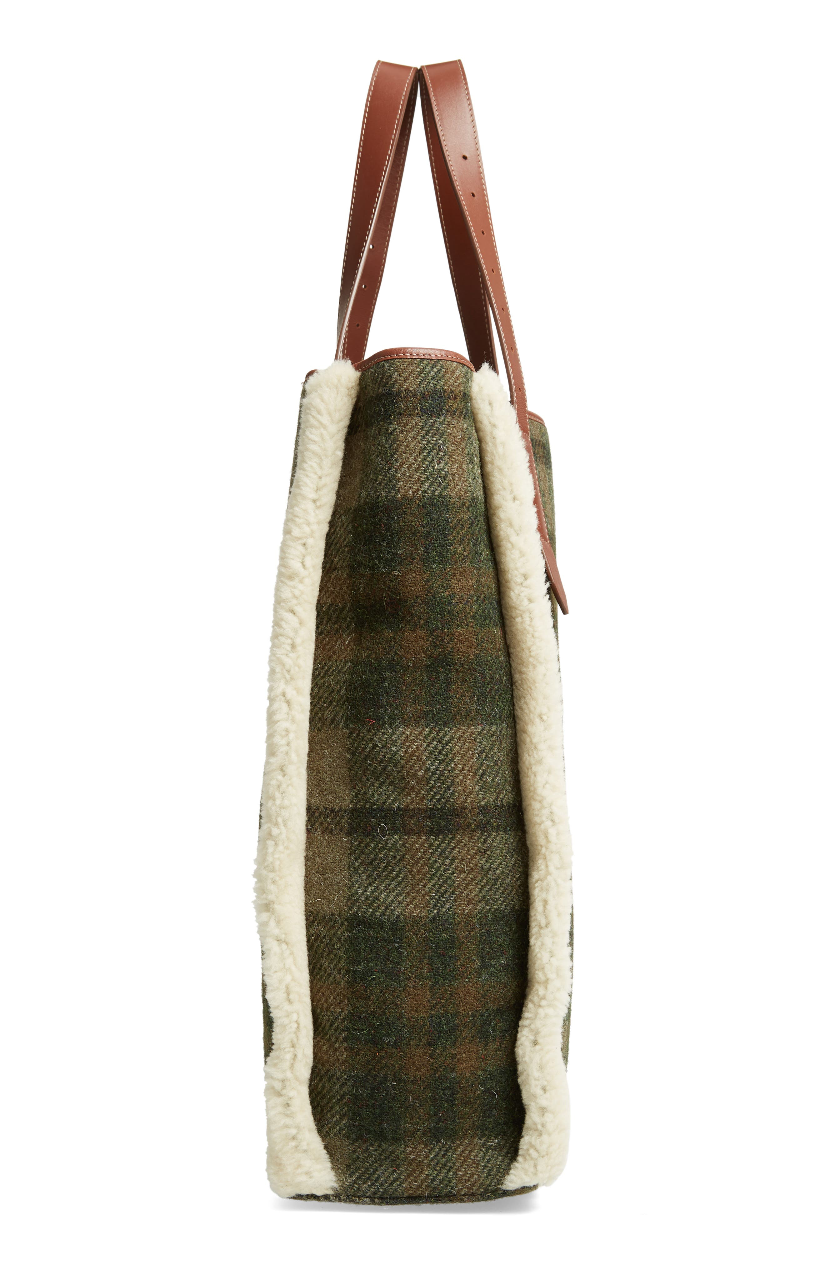 Tartan Belt Tote with Genuine Shearling Trim,                             Alternate thumbnail 5, color,                             SAFARI