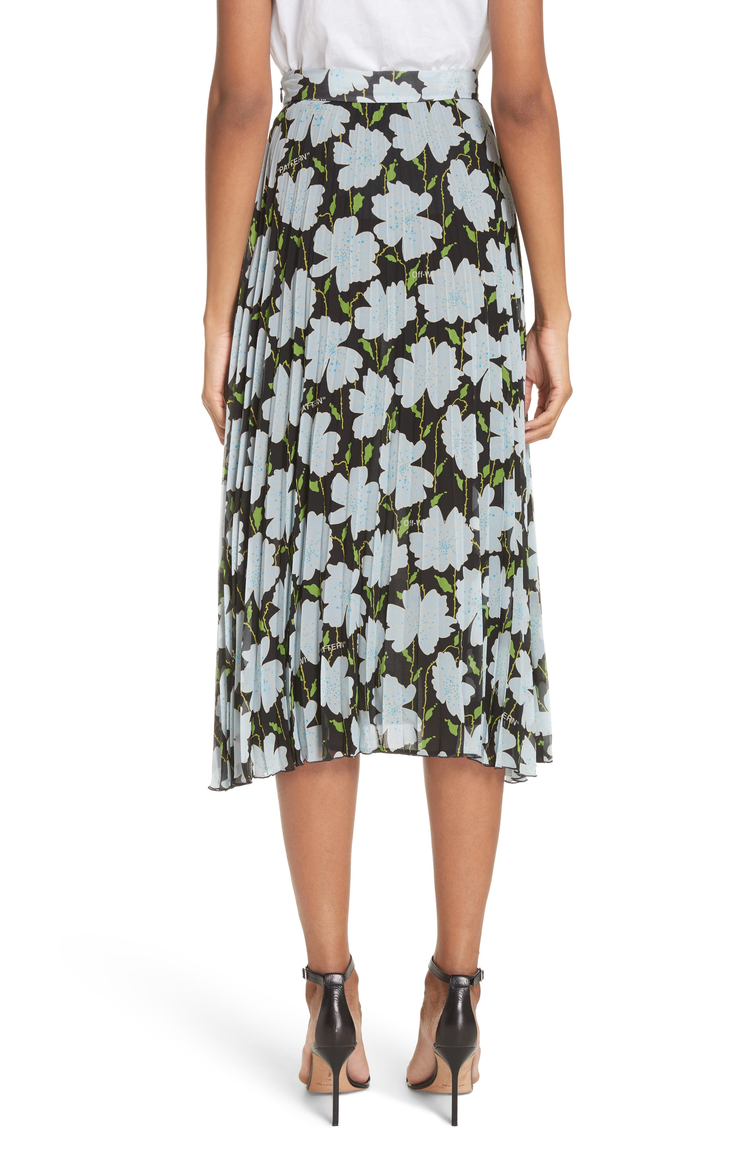 Floral Plissé Silk Skirt,                             Alternate thumbnail 2, color,                             001