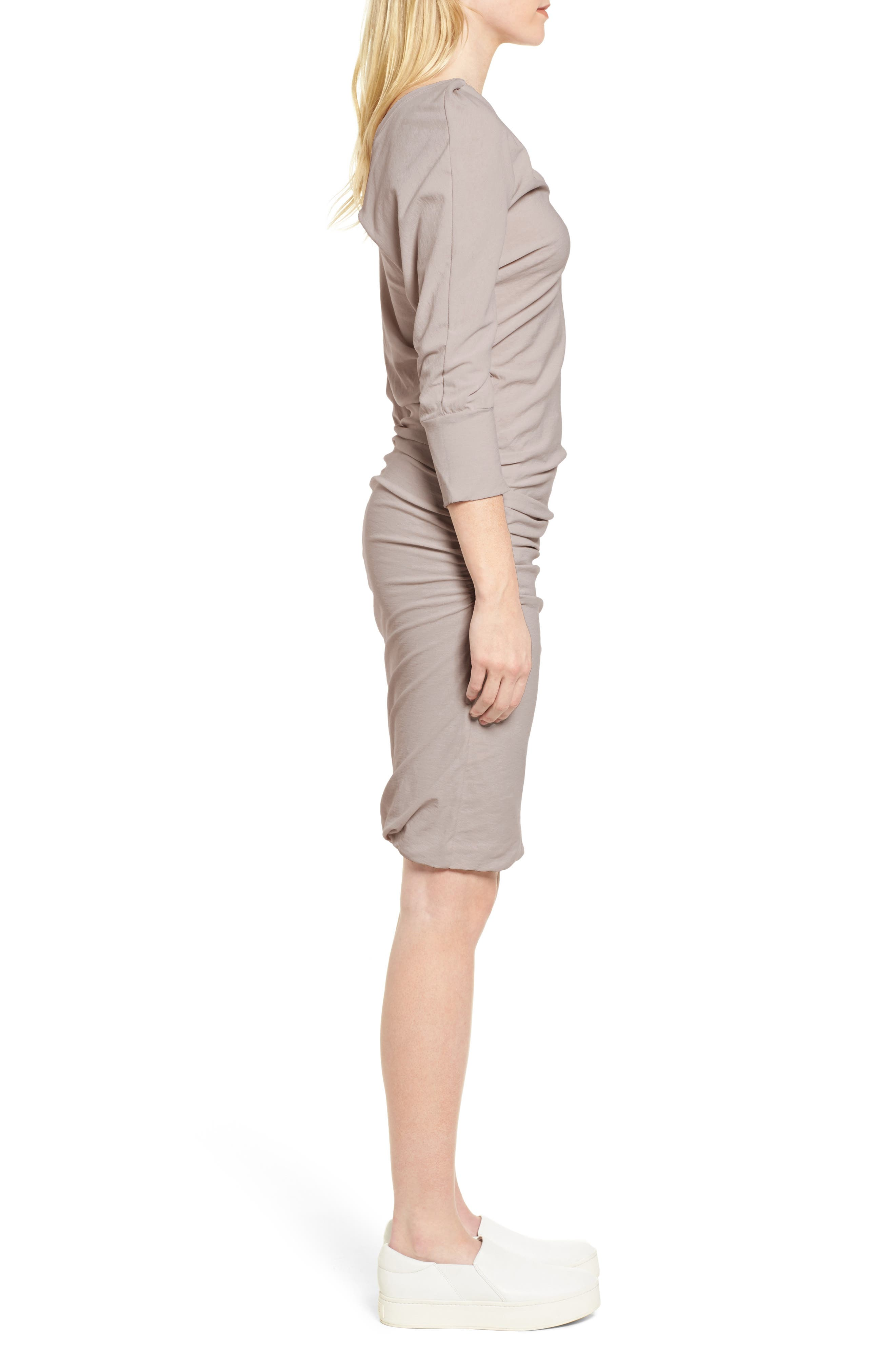 Shirred Cotton Dress,                             Alternate thumbnail 3, color,                             085