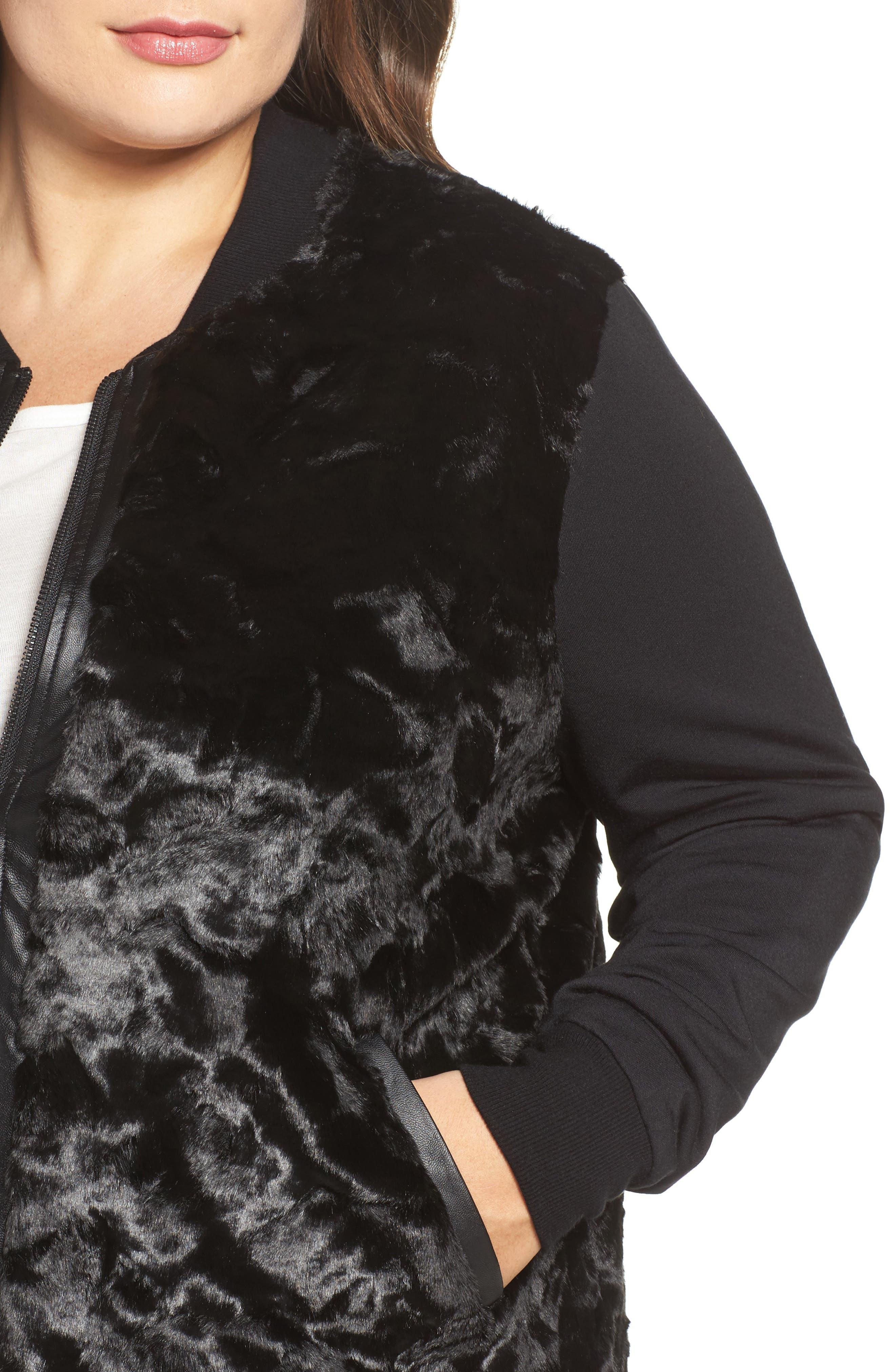 Watson Faux Fur Bomber Jacket,                             Alternate thumbnail 4, color,                             001