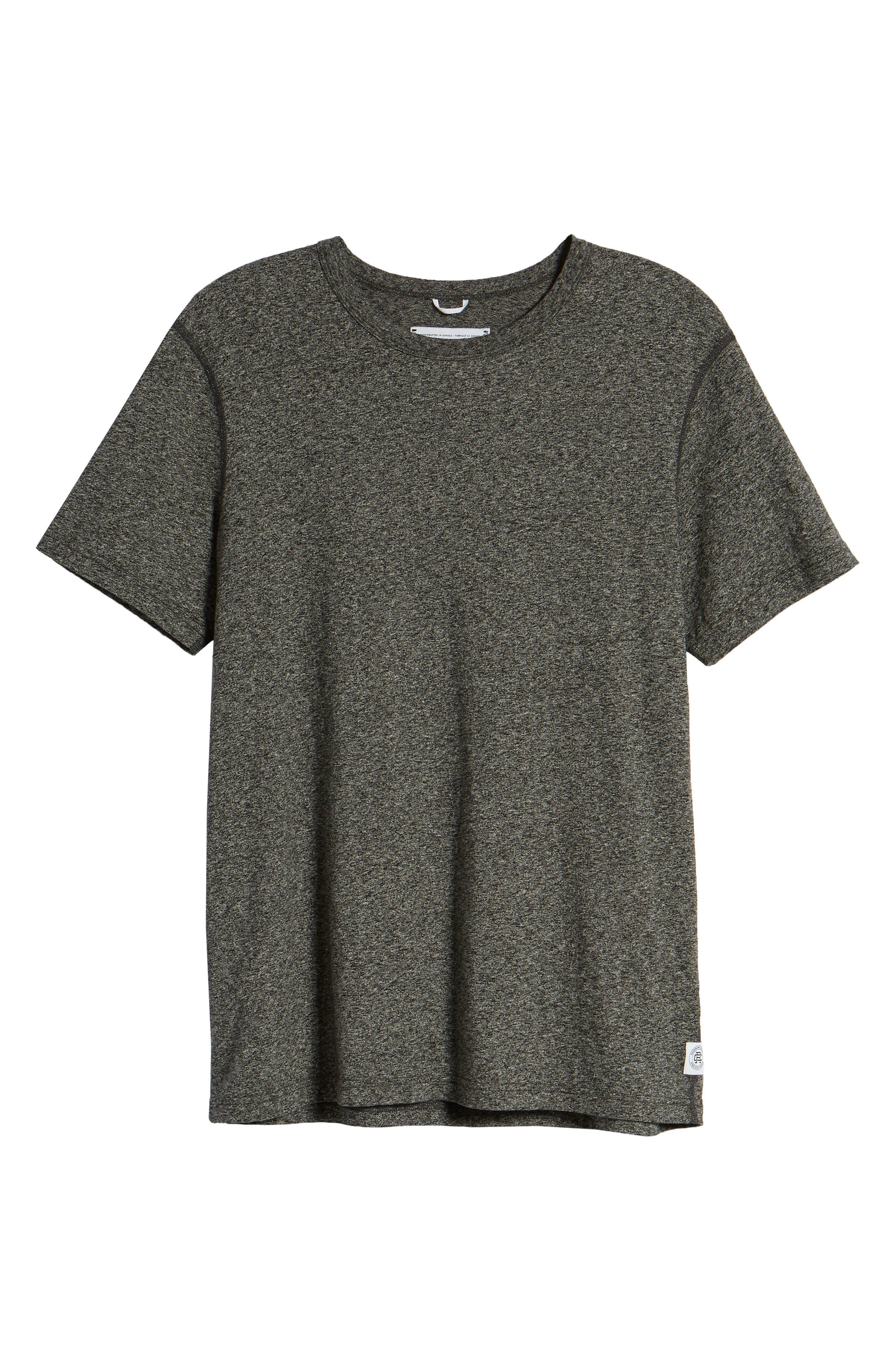 REIGNING CHAMP,                             Short Sleeve Crewneck T-Shirt,                             Alternate thumbnail 6, color,                             MEDIUM BLACK