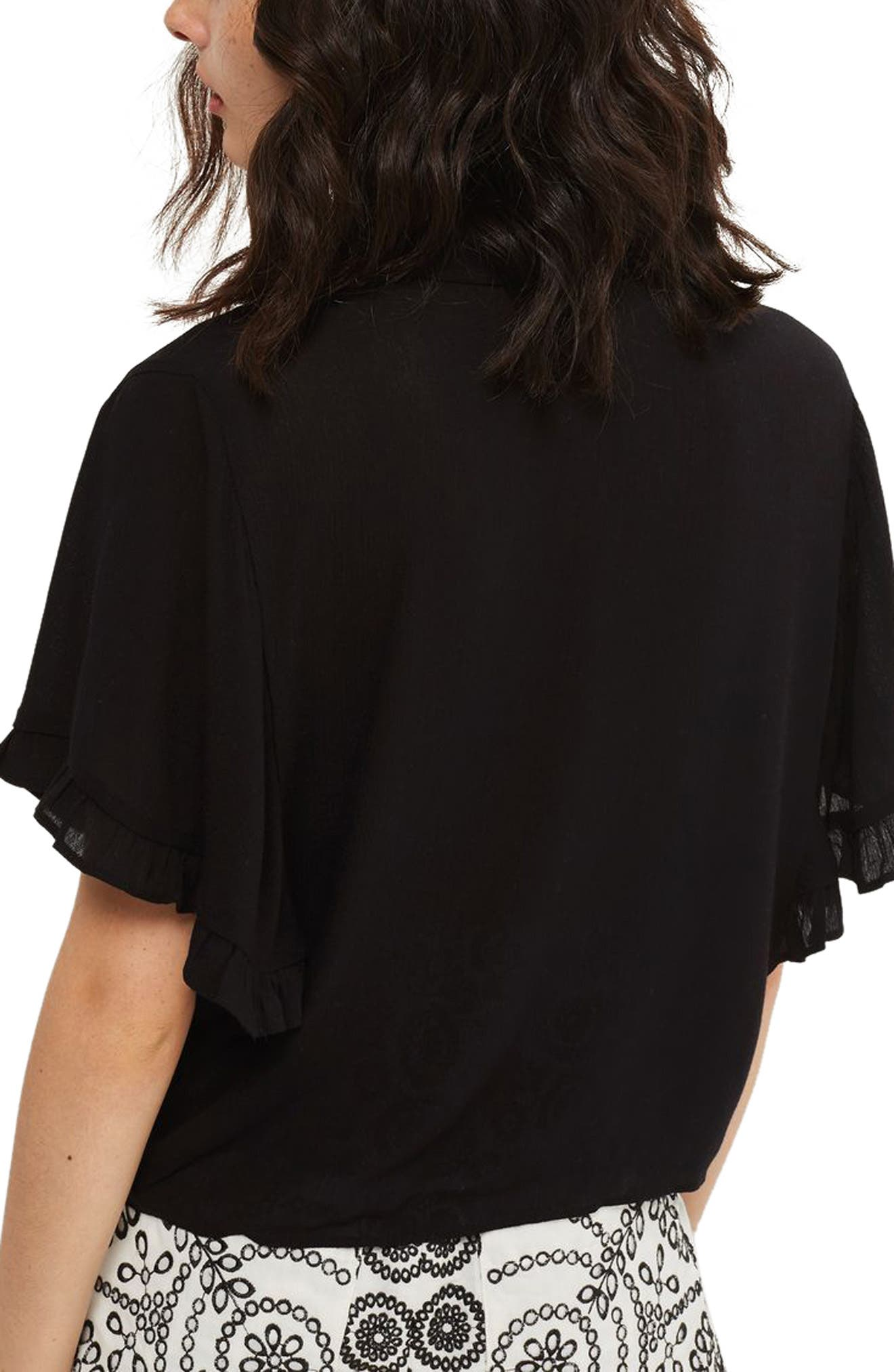 Katie Frill Sleeve Shirt,                             Alternate thumbnail 2, color,                             001