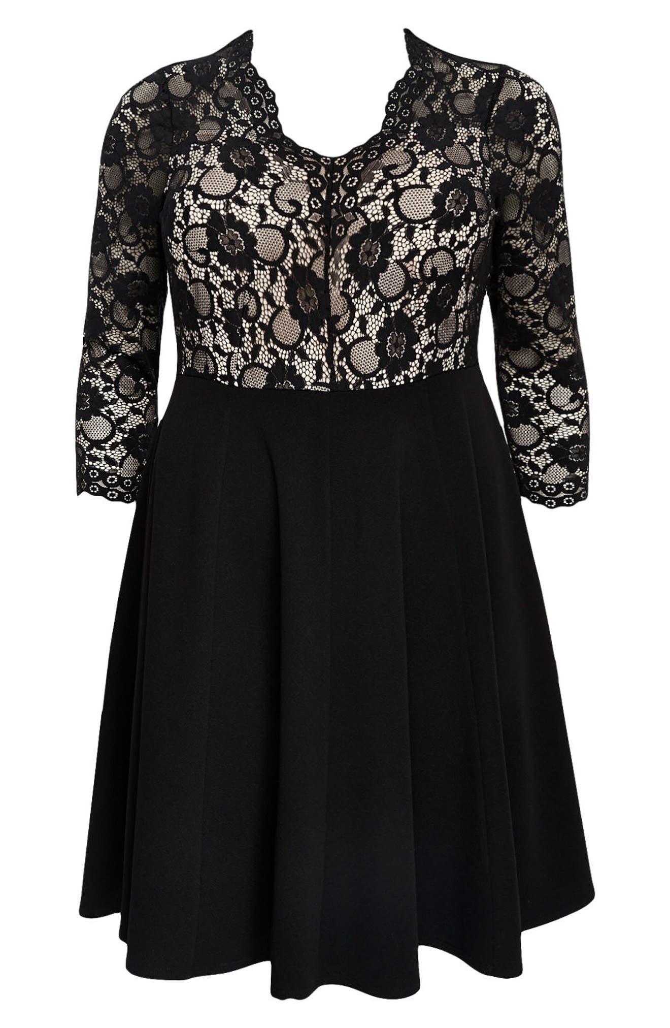 Scallop Lace Fit & Flare Dress,                             Alternate thumbnail 4, color,                             001