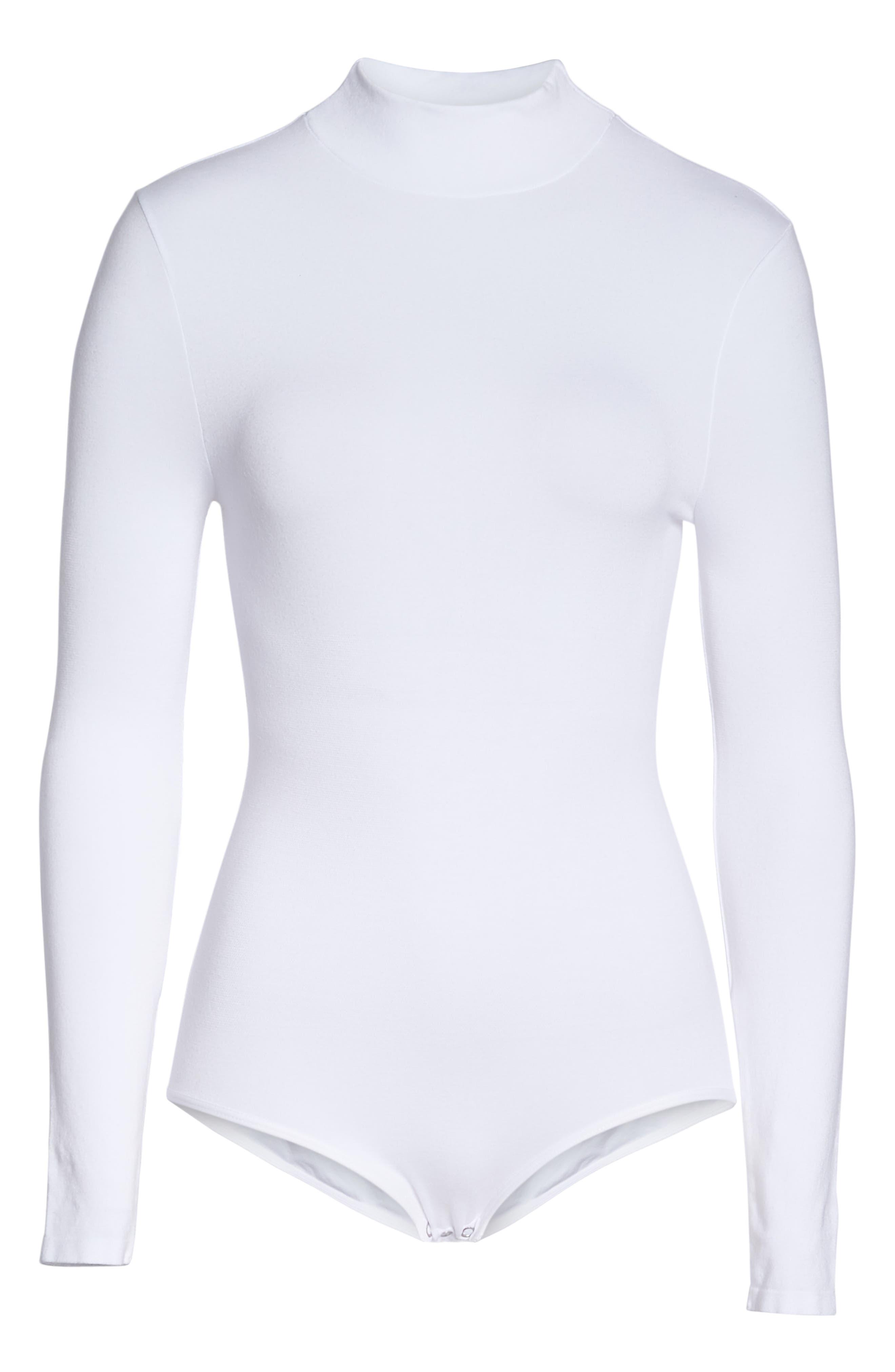 'Madelyn' Seamless Bodysuit,                             Alternate thumbnail 6, color,                             WHITE