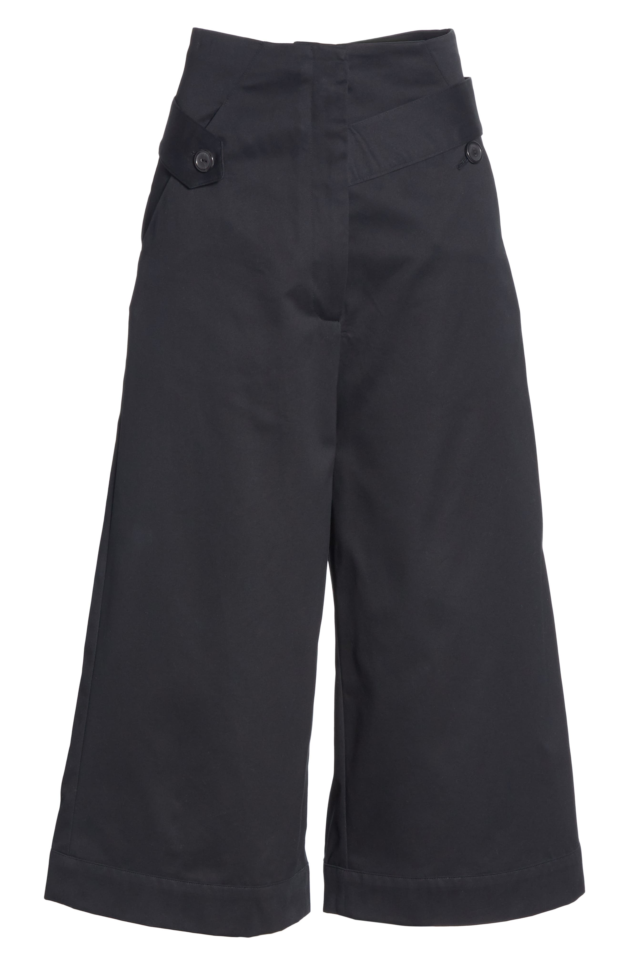 Palmer Harding Distorted Culottes,                             Alternate thumbnail 6, color,                             BLACK COTTON TWILL