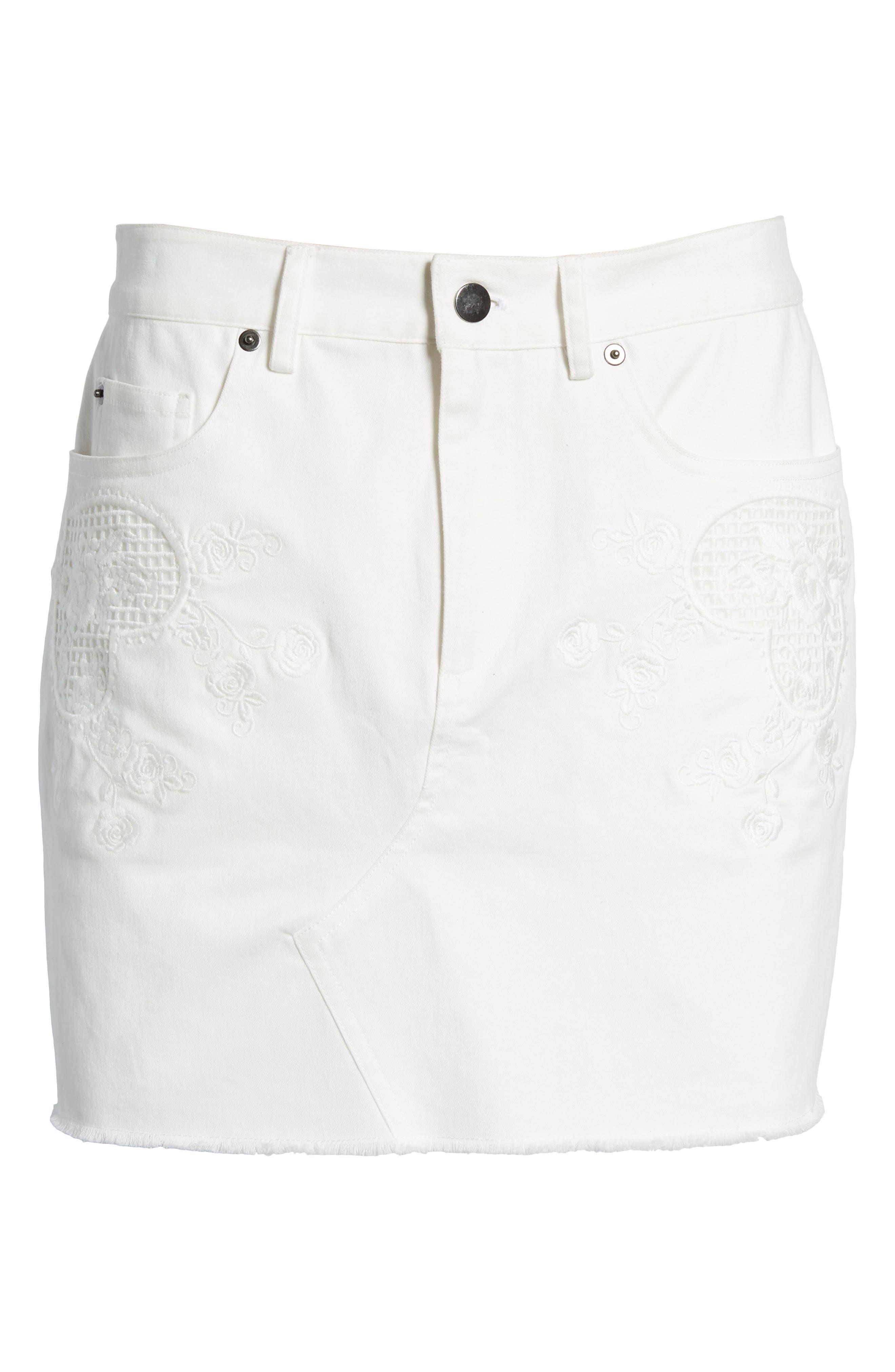 Eva Embroidered Denim Miniskirt,                             Alternate thumbnail 7, color,                             WHITE