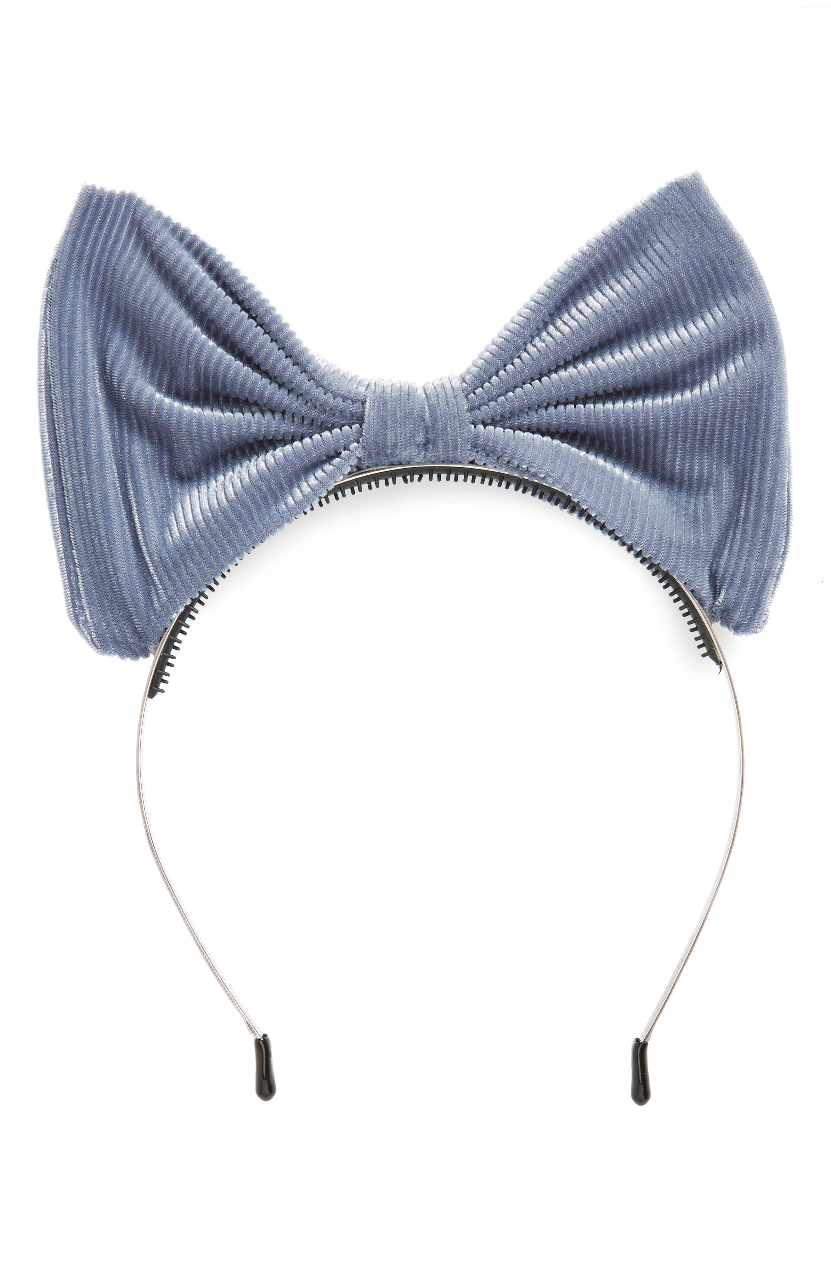 Manière Corduroy Bow Headband,                             Main thumbnail 1, color,                             DENIM BLUE