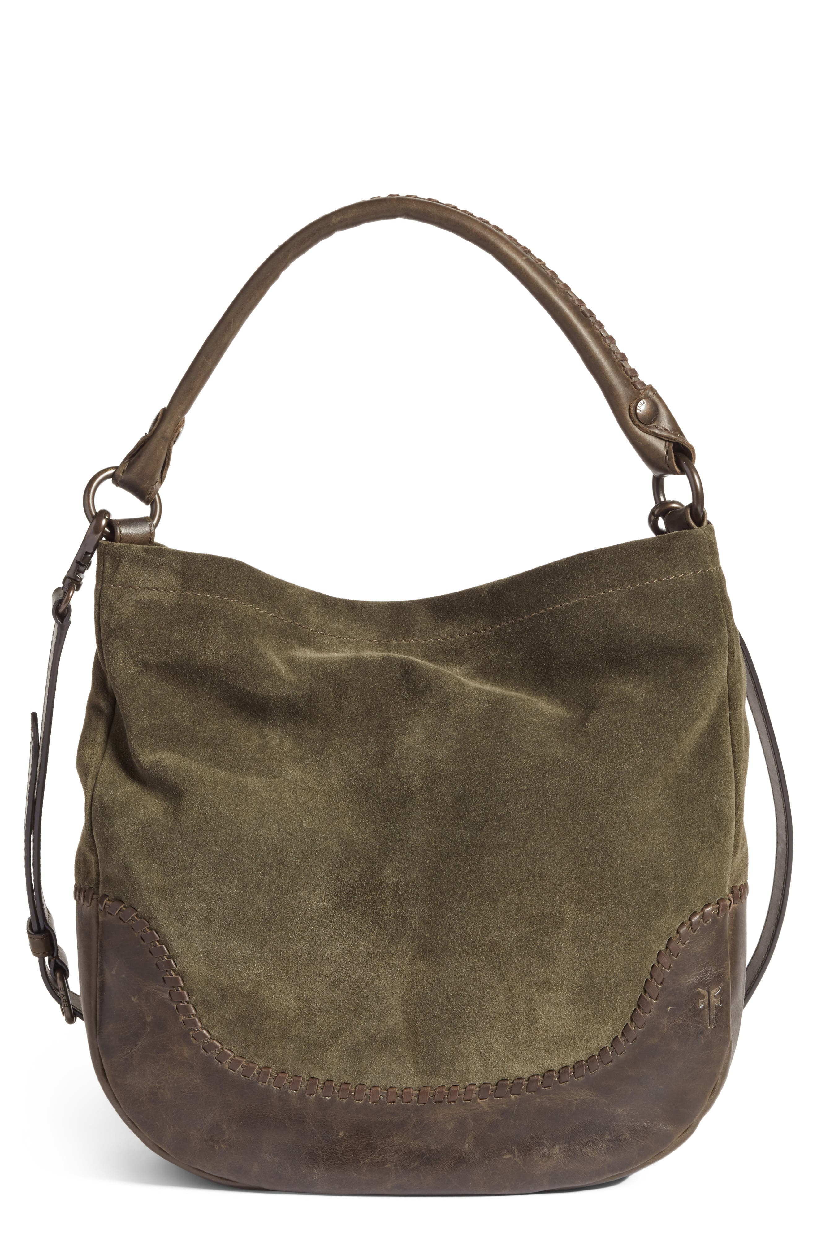 Melissa Suede & Whipstitch Leather Hobo,                             Main thumbnail 1, color,