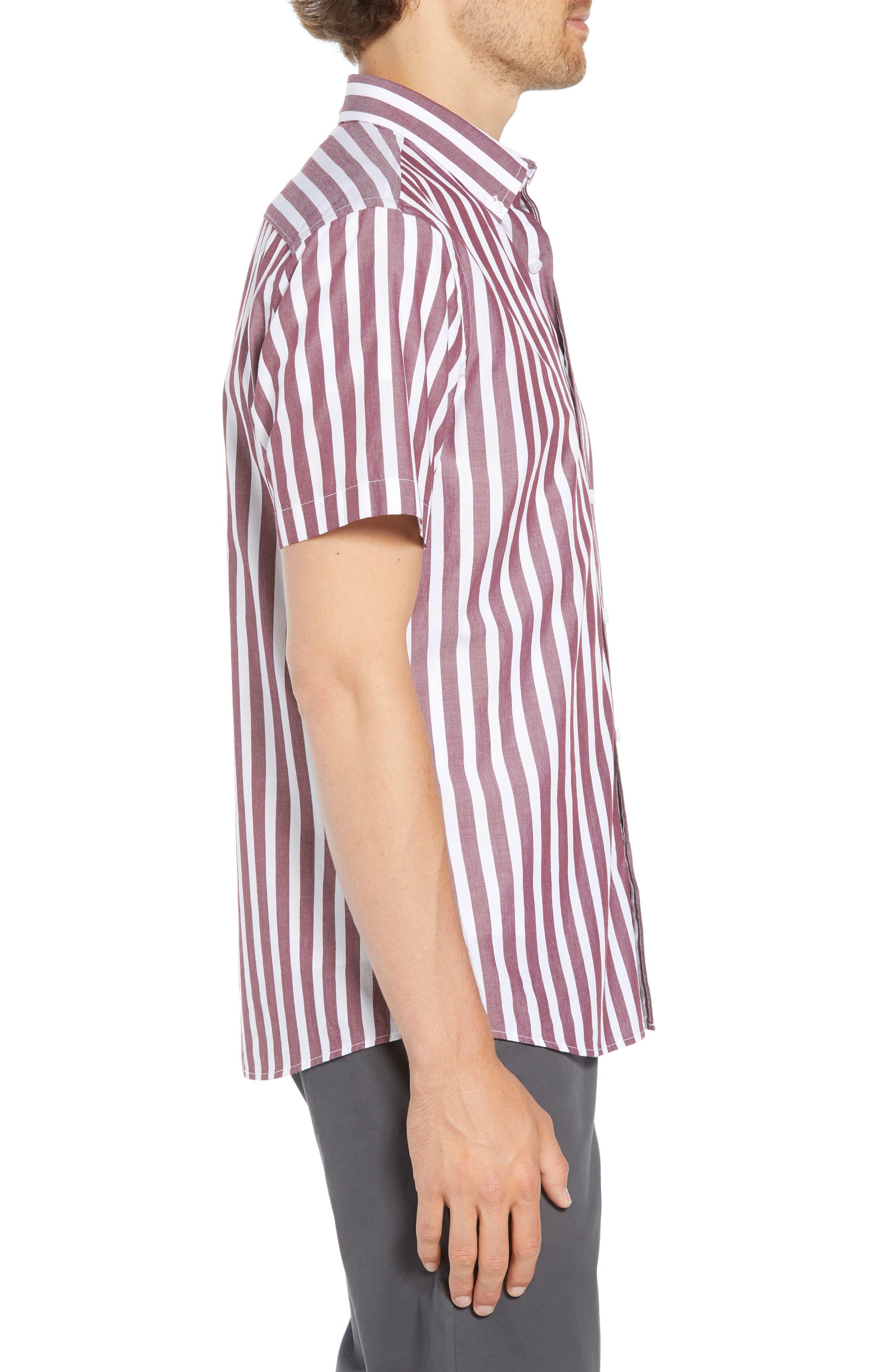 Ivy Trim Fit Stripe Sport Shirt,                             Alternate thumbnail 3, color,                             938