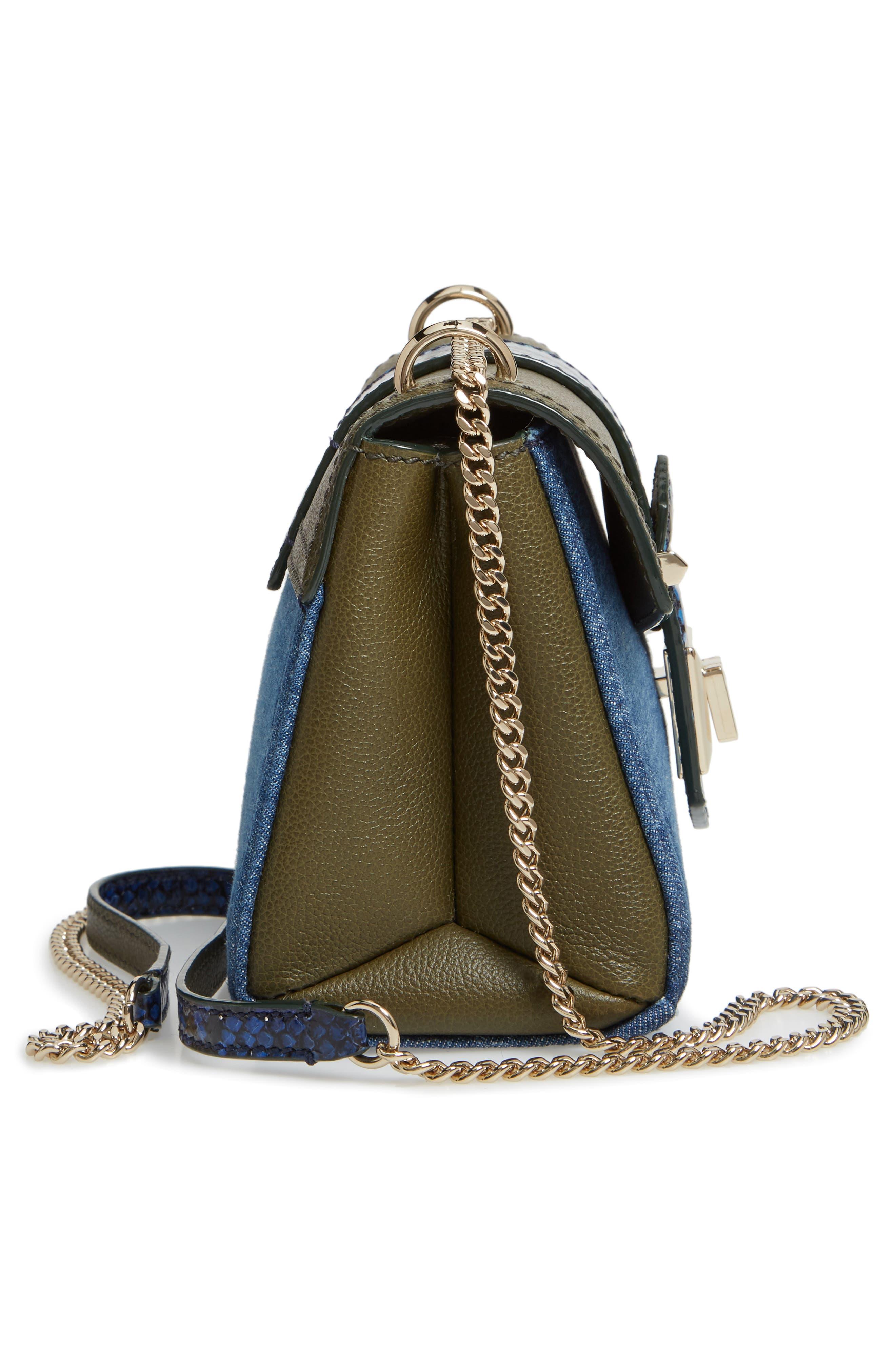 Marianne Leather & Genuine Snakeskin Crossbody Bag,                             Alternate thumbnail 6, color,                             NAVY MIX