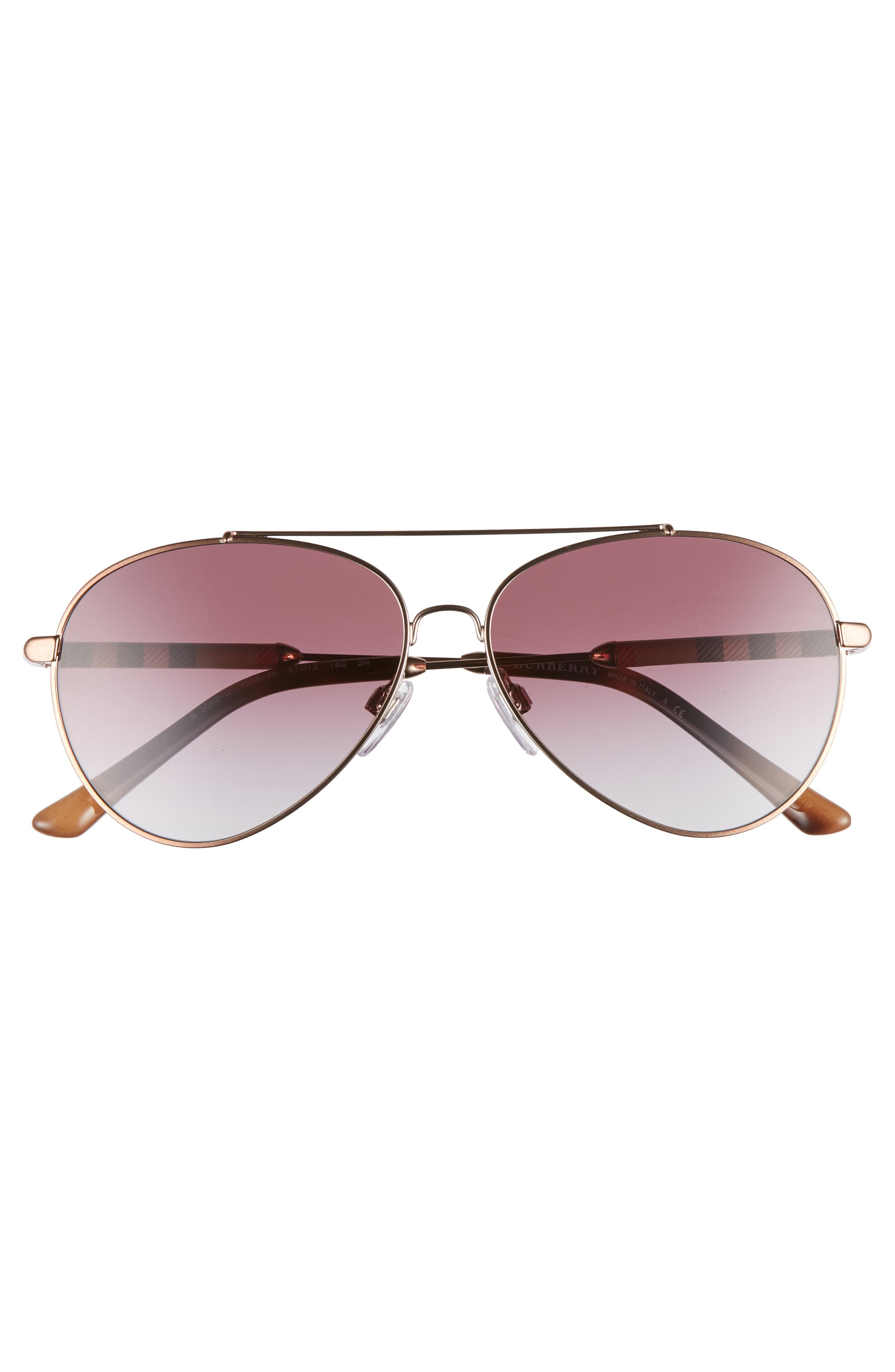 57mm Mirrored Aviator Sunglasses,                             Alternate thumbnail 3, color,                             VIOLET GRADIENT
