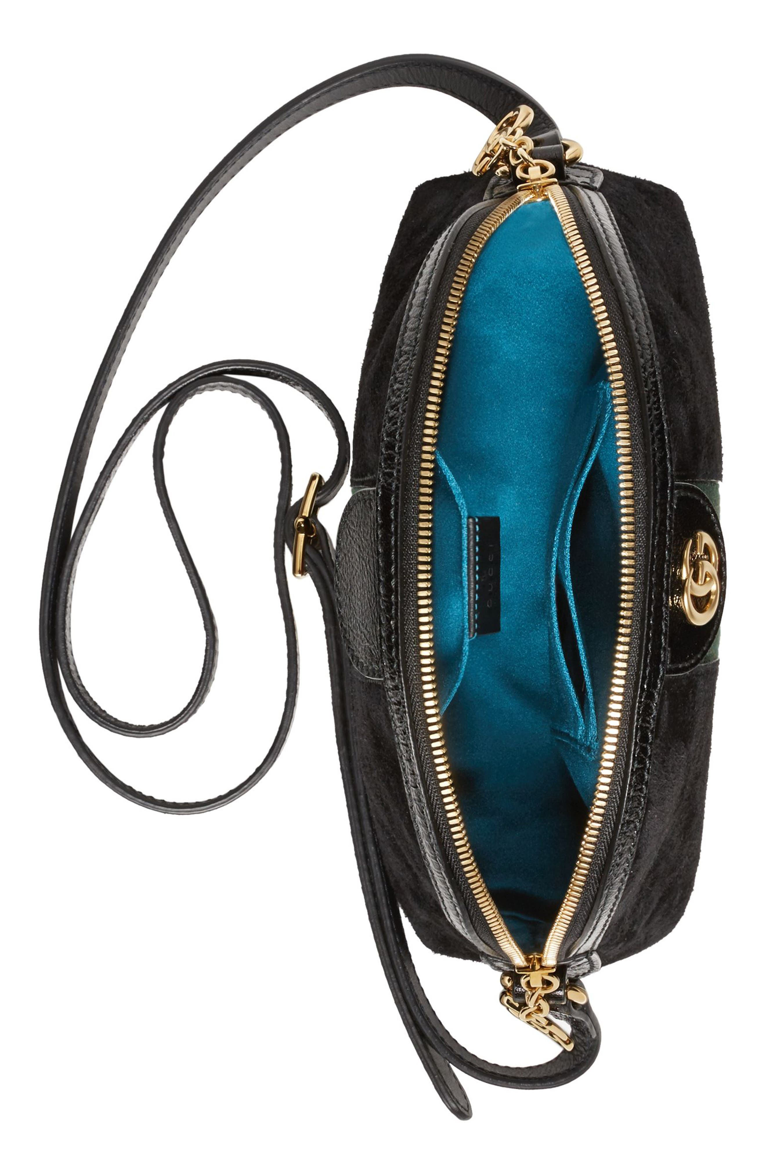 Small Suede Shoulder Bag,                             Alternate thumbnail 3, color,                             NERO/ NERO/ VERT RED VERT