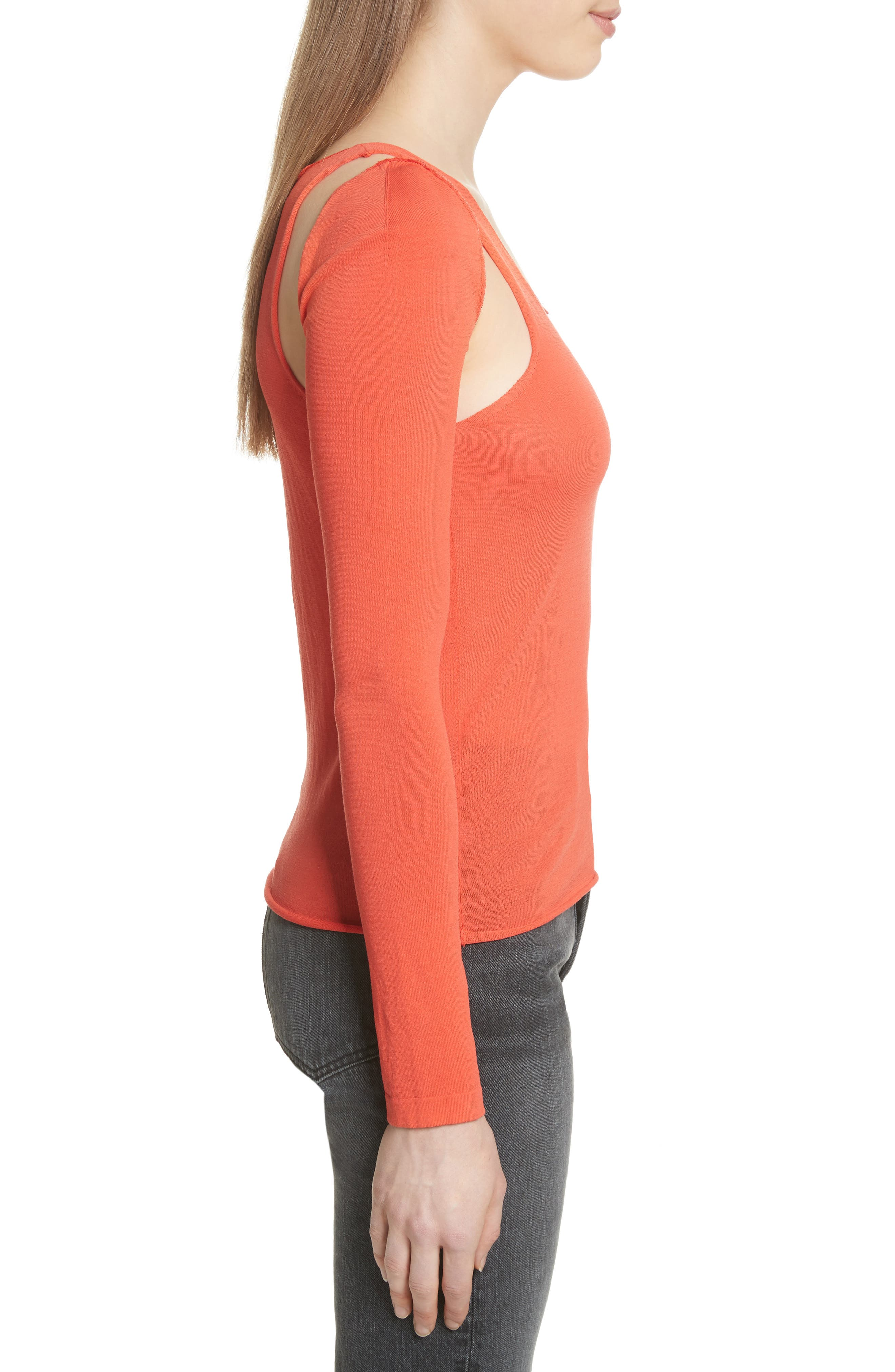 Ribbed Tank Top with Long Sleeves,                             Alternate thumbnail 3, color,                             808