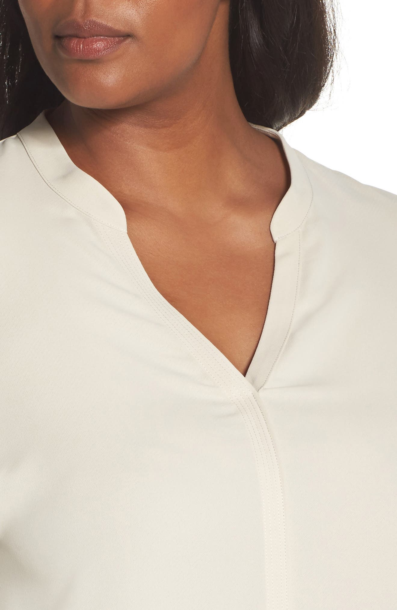 Endless Empire Matte Satin Blouse,                             Alternate thumbnail 4, color,                             CREME BRULEE