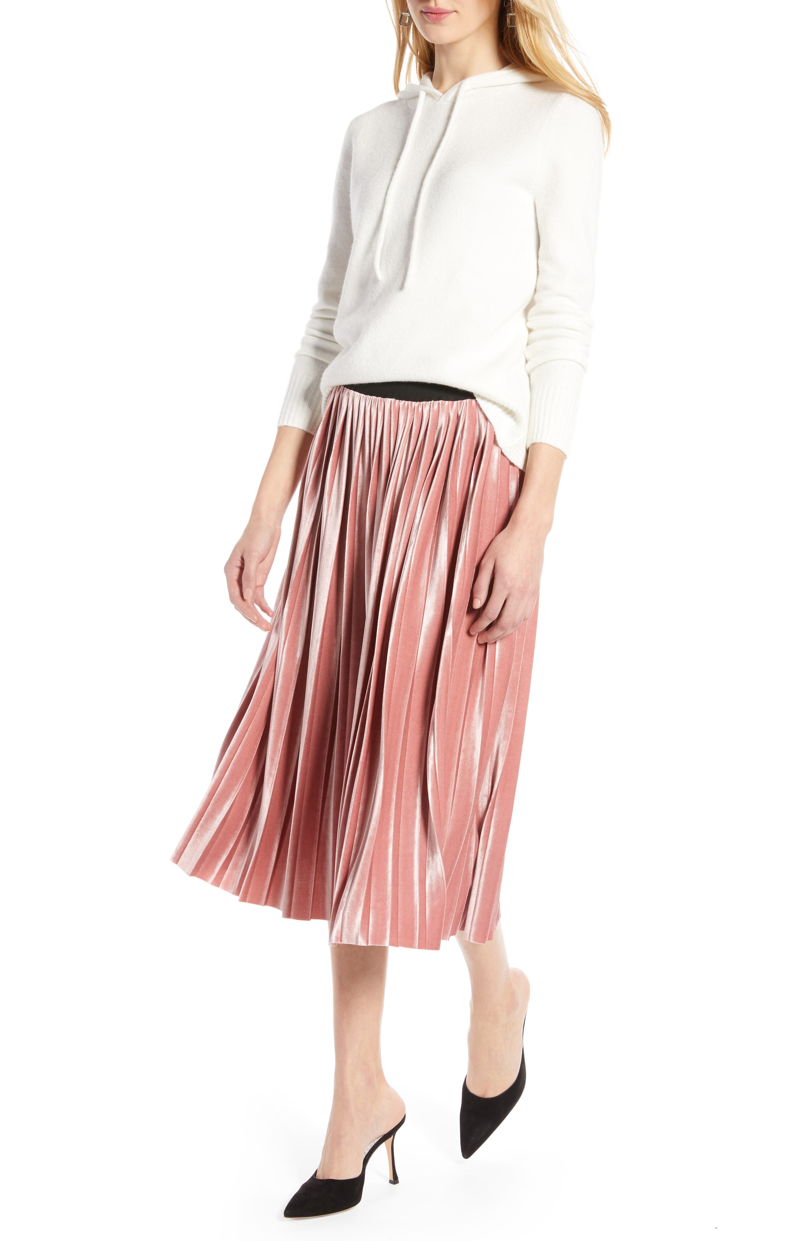 Velvet Pleated Midi Skirt,                             Alternate thumbnail 7, color,                             PINK MESA