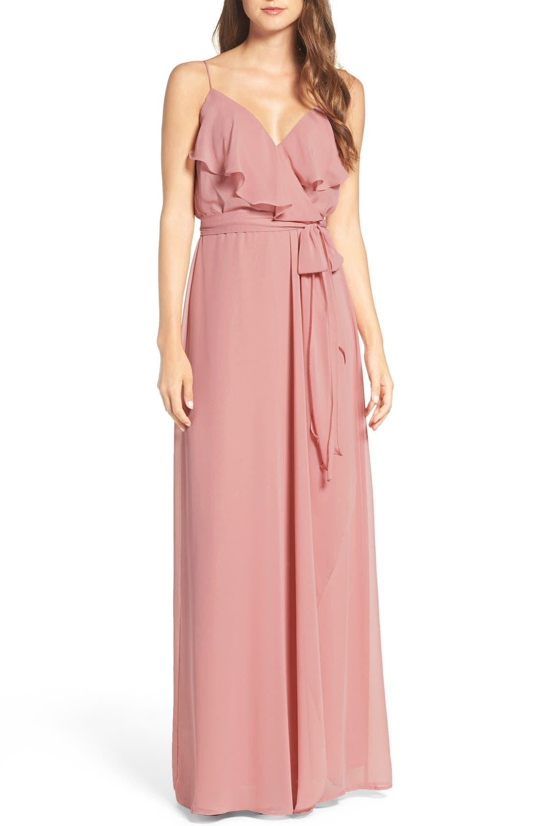 'Drew' Ruffle Front Chiffon Gown,                             Main thumbnail 12, color,